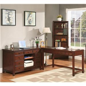 Riverside Furniture Avenue L-Shape Laptop Desk with Credenza