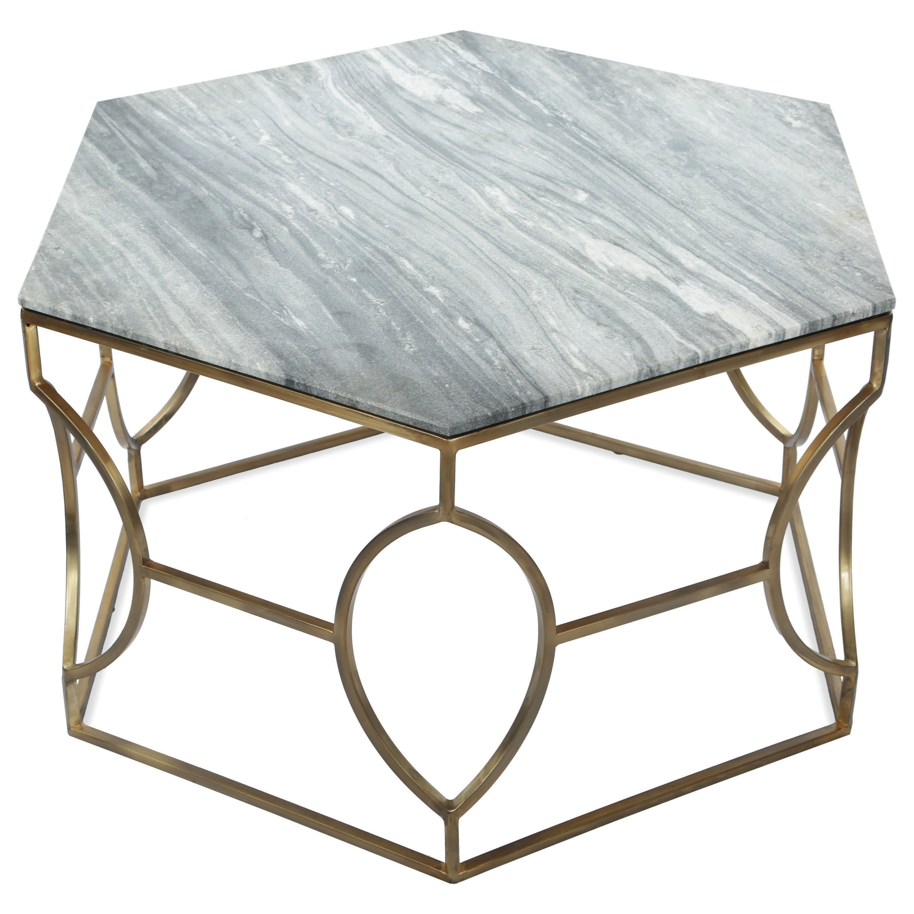 Hexagon Coffee Table With Marble Top By Riverside Furniture Wolf - Hexagon marble coffee table