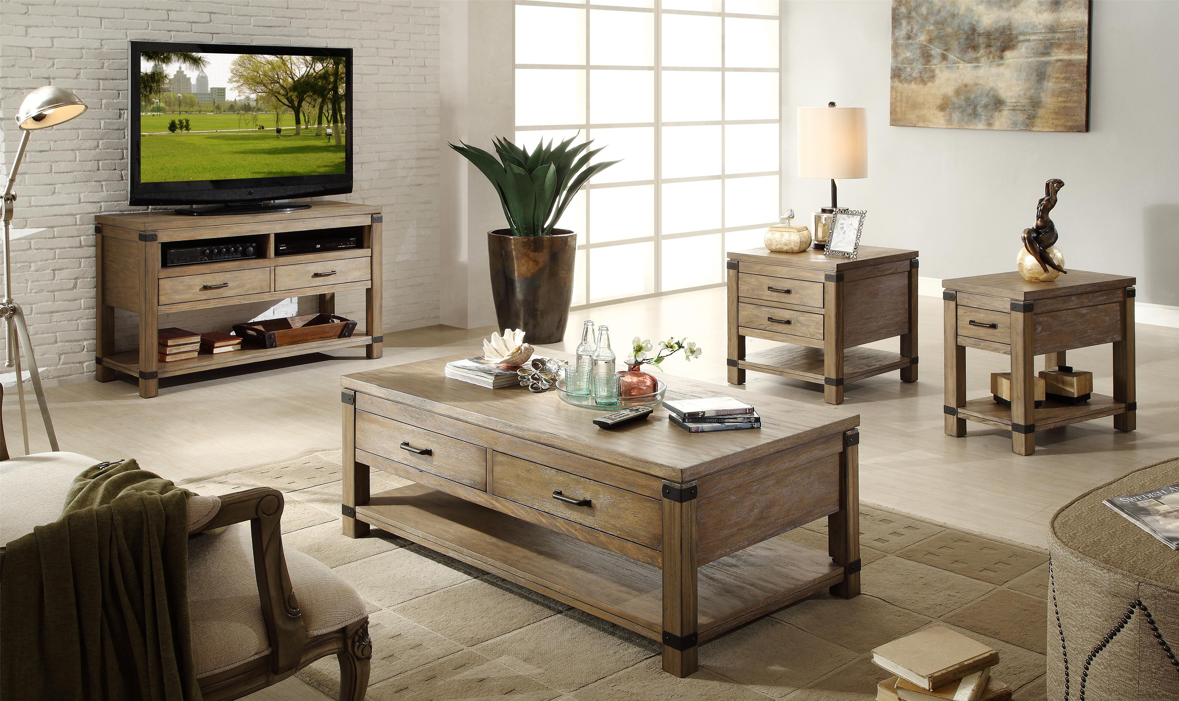 Rectangular 2 Drawer End Table With 1 Shelf By Riverside Furniture
