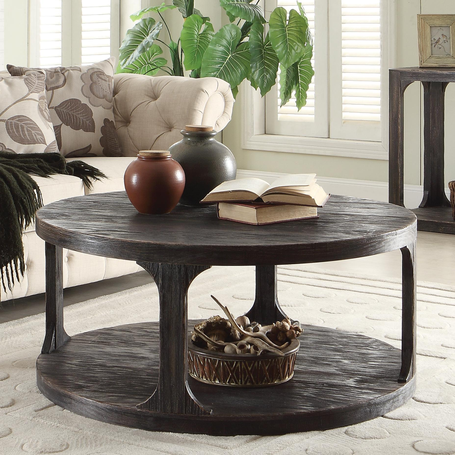 Round Cocktail Table w Shelf by Riverside Furniture