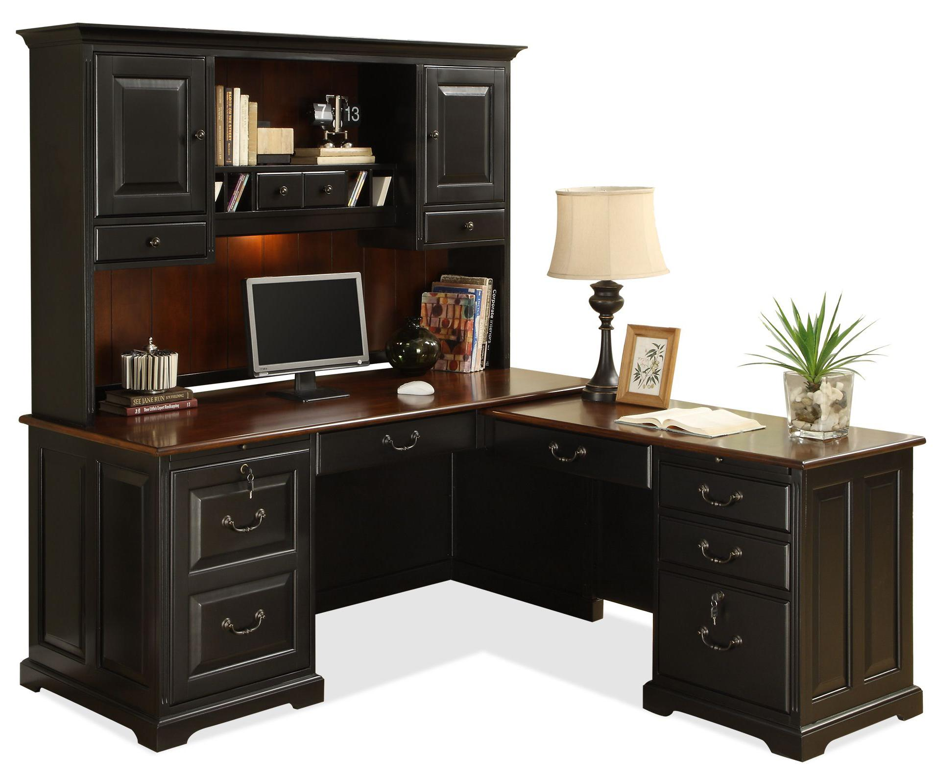 L Shape Computer Workstation Desk with Hutch. L Shape Computer Workstation Desk with Hutch by Riverside