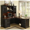 Riverside Furniture Bridgeport  L-Shaped Computer Workstation Desk - Shown with Coordinating Hutch