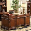 Riverside Furniture Bristol Court Cognac Cherry Finished Rectangular Executive Desk - Shown With Desk Chair, Computer Credenza and Hutch and Sliding Door Bookcase