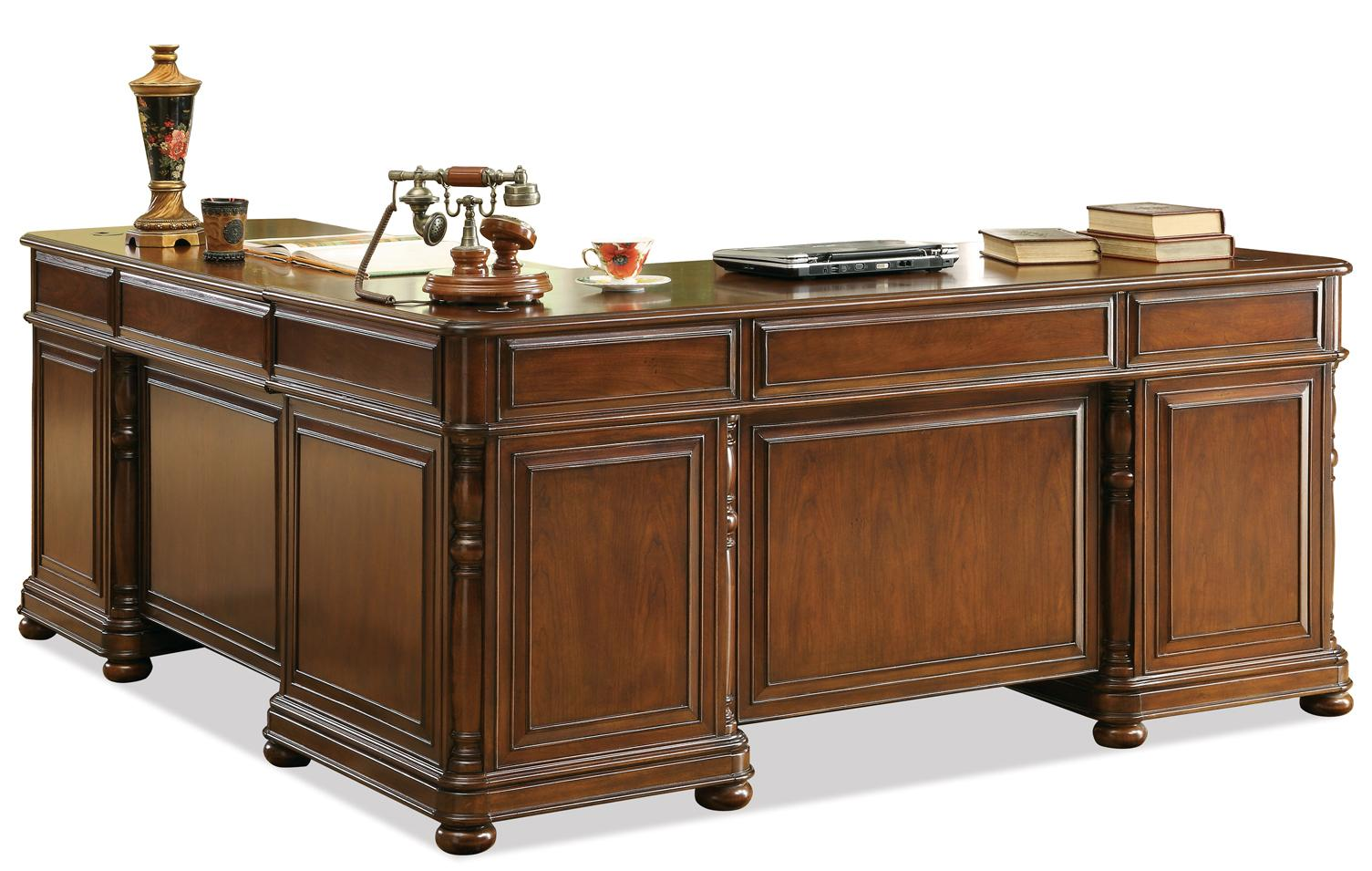 Large Cherry L Desk And Return By Riverside Furniture