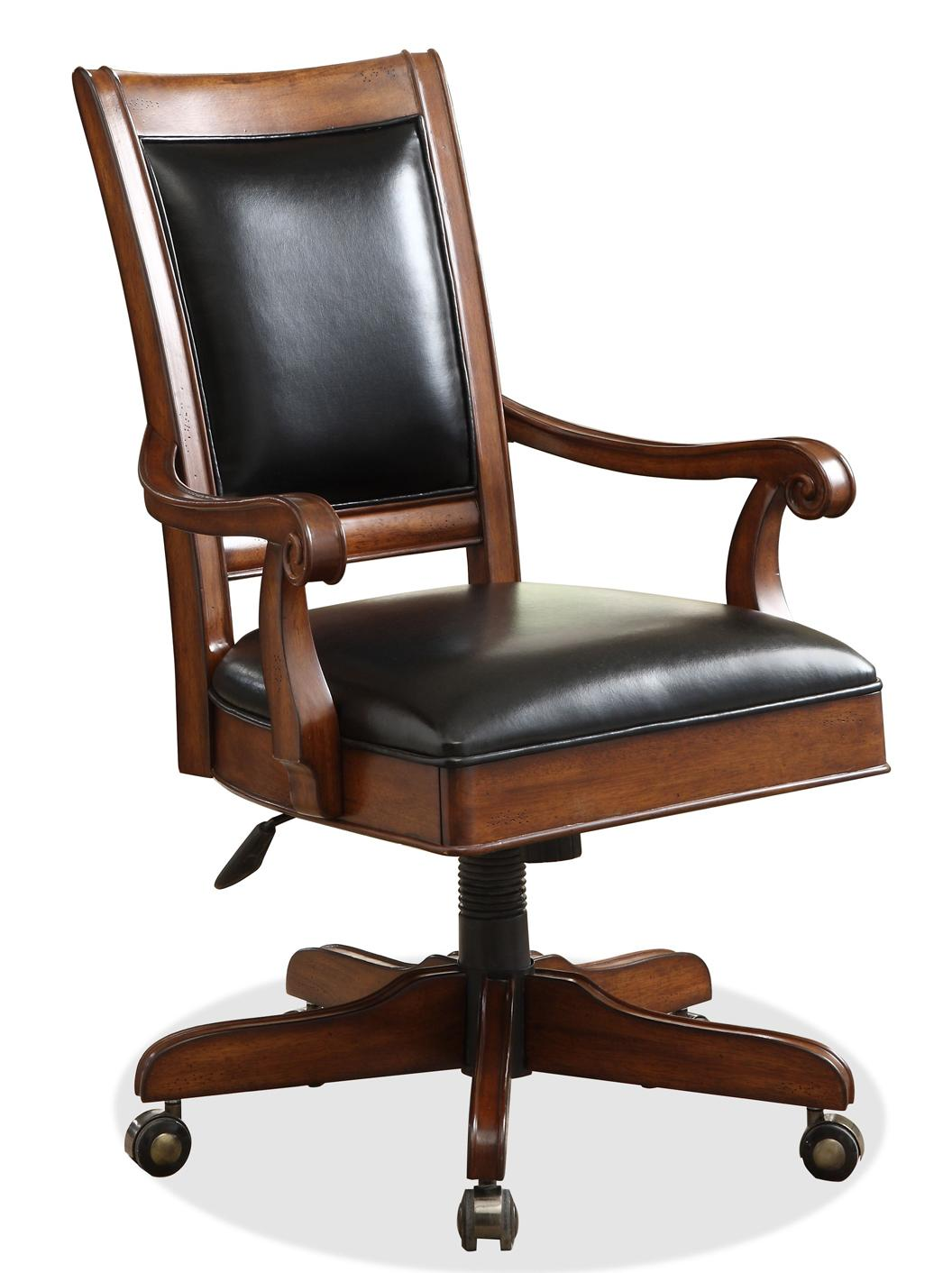 Delicieux Caster Equipped Wooden Desk Chair With Leather Covered Seat