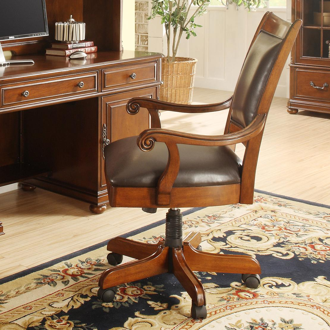 Caster Equipped Wooden Desk Chair with Leather Covered ...