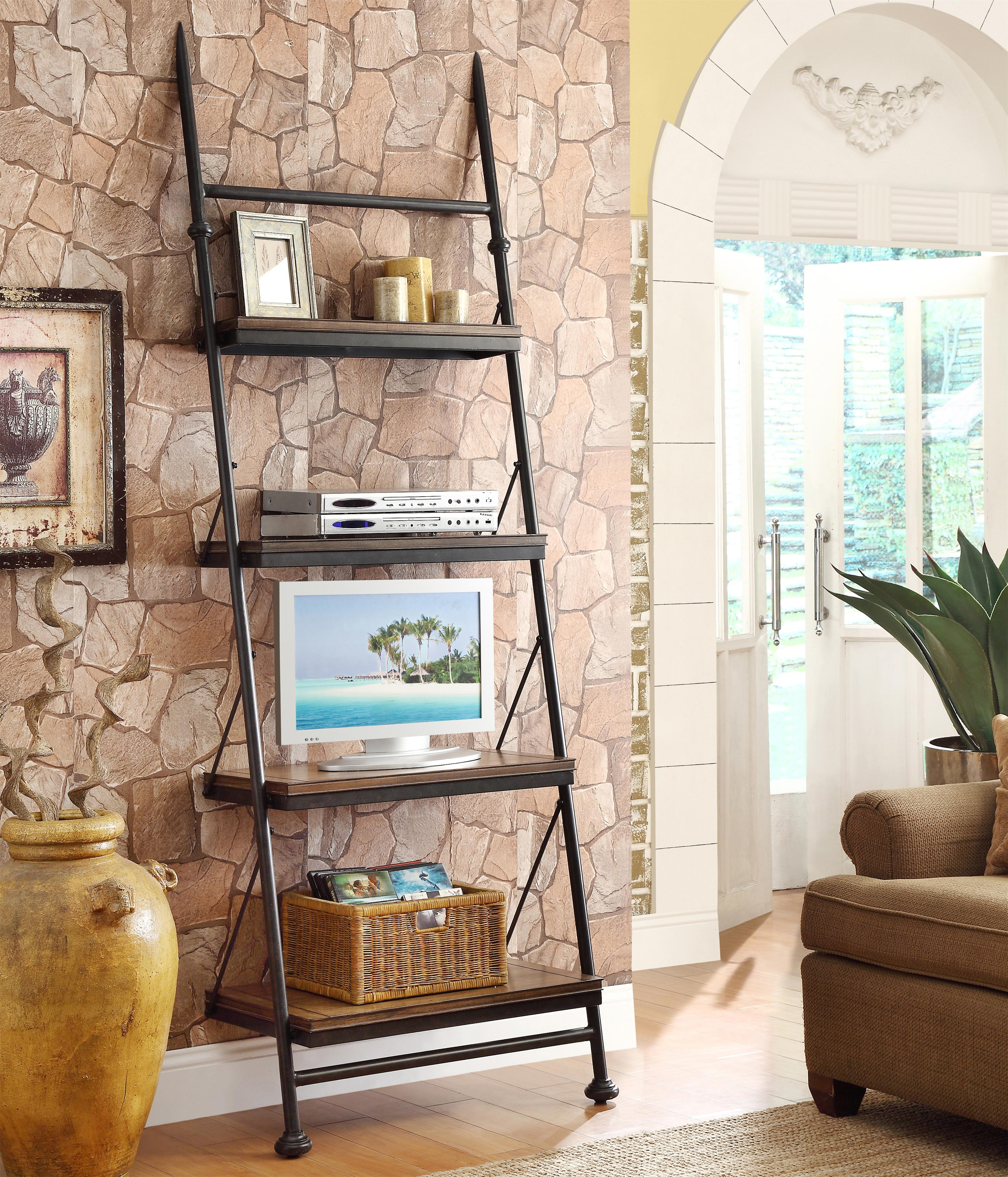 open leaning bookcase with 4 shelves