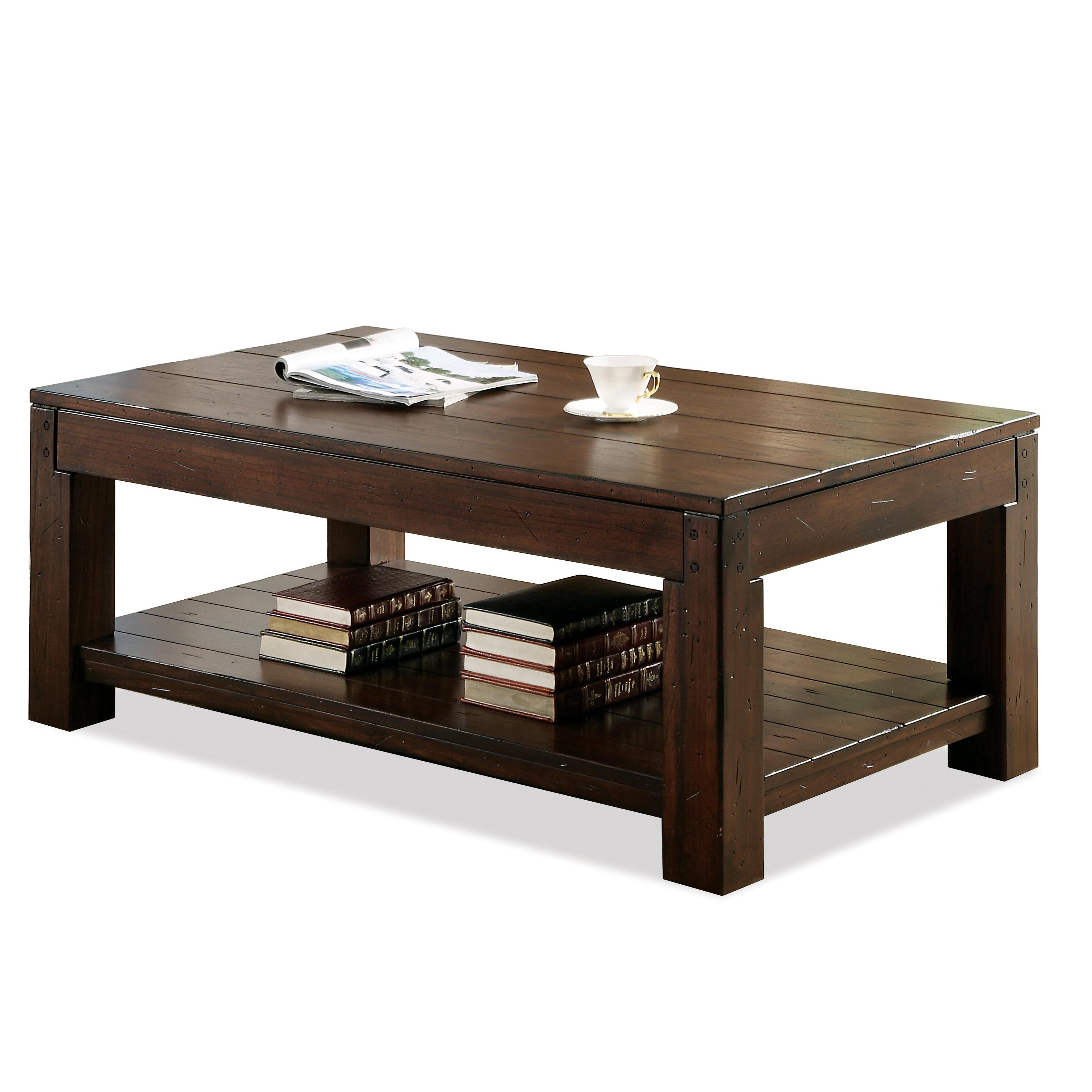 Rectangular Coffee Table with Fixed Lower Shelf and Block Legs by