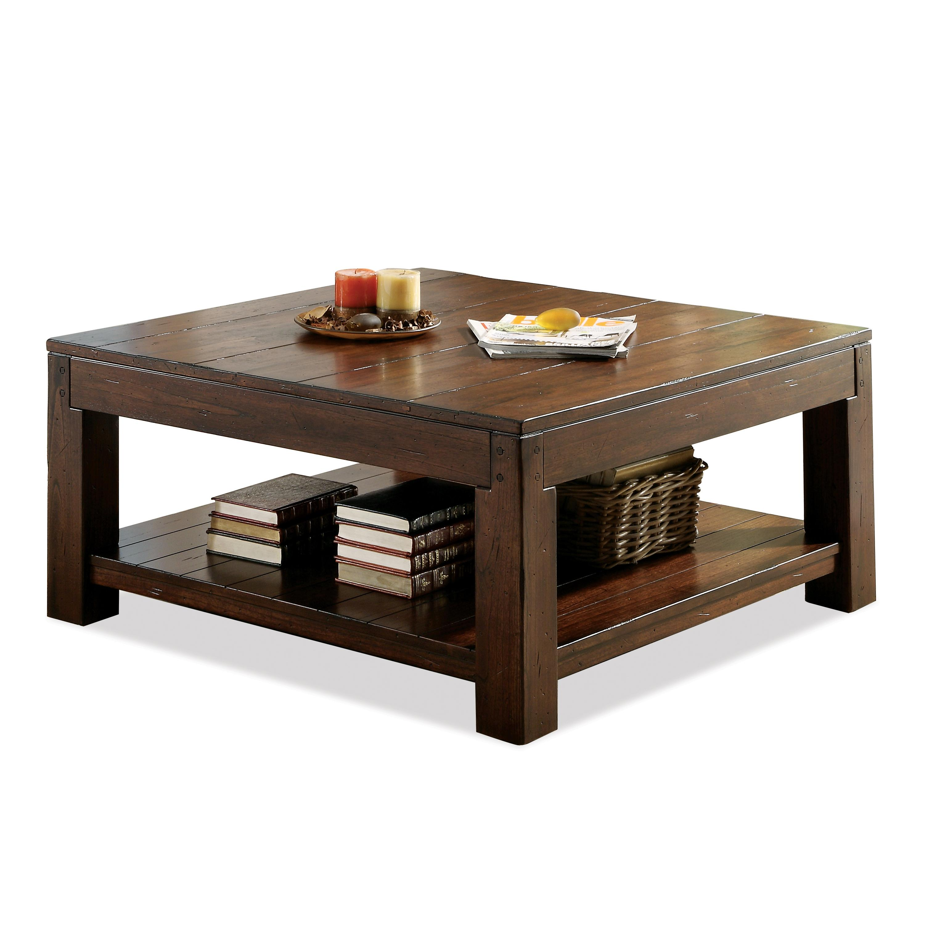 Square Coffee Table With Fixed Bottom Shelf And Block Legs By Riverside Furniture Wolf And