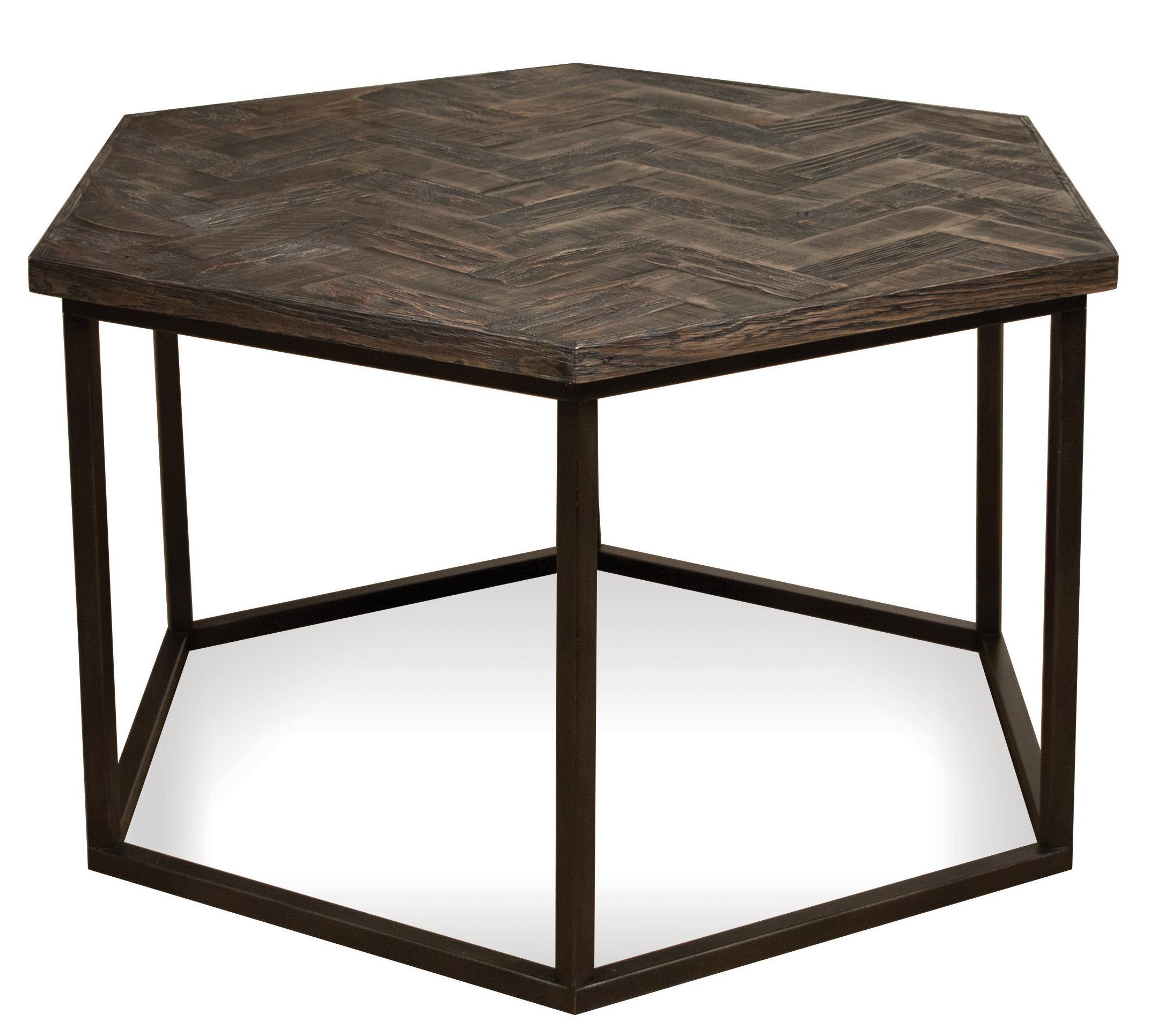 Hexagon Coffee Table w Metal Base by Riverside Furniture