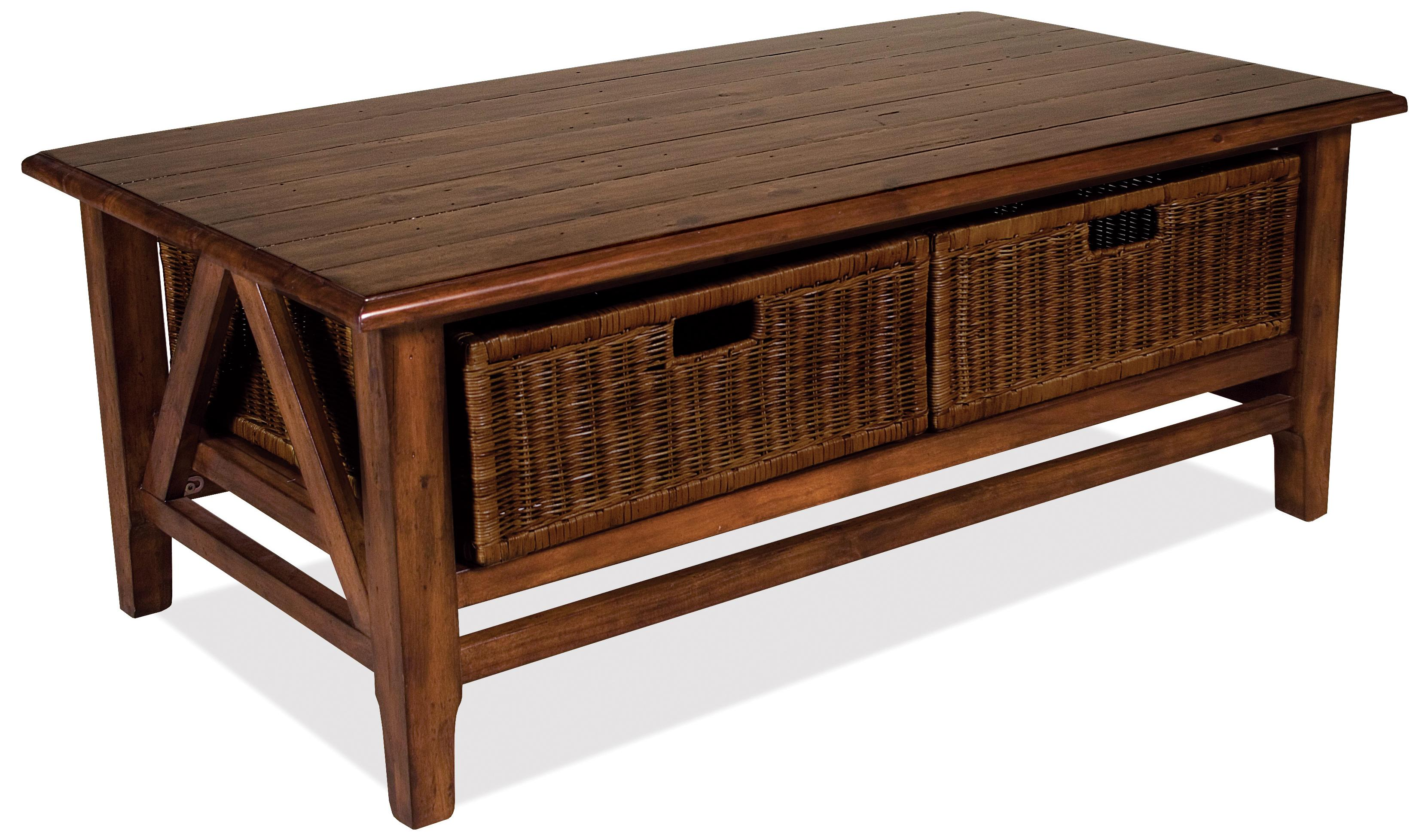 Rectangular cocktail table with 2 removable wicker storage baskets by riverside furniture wolf Coffee table baskets
