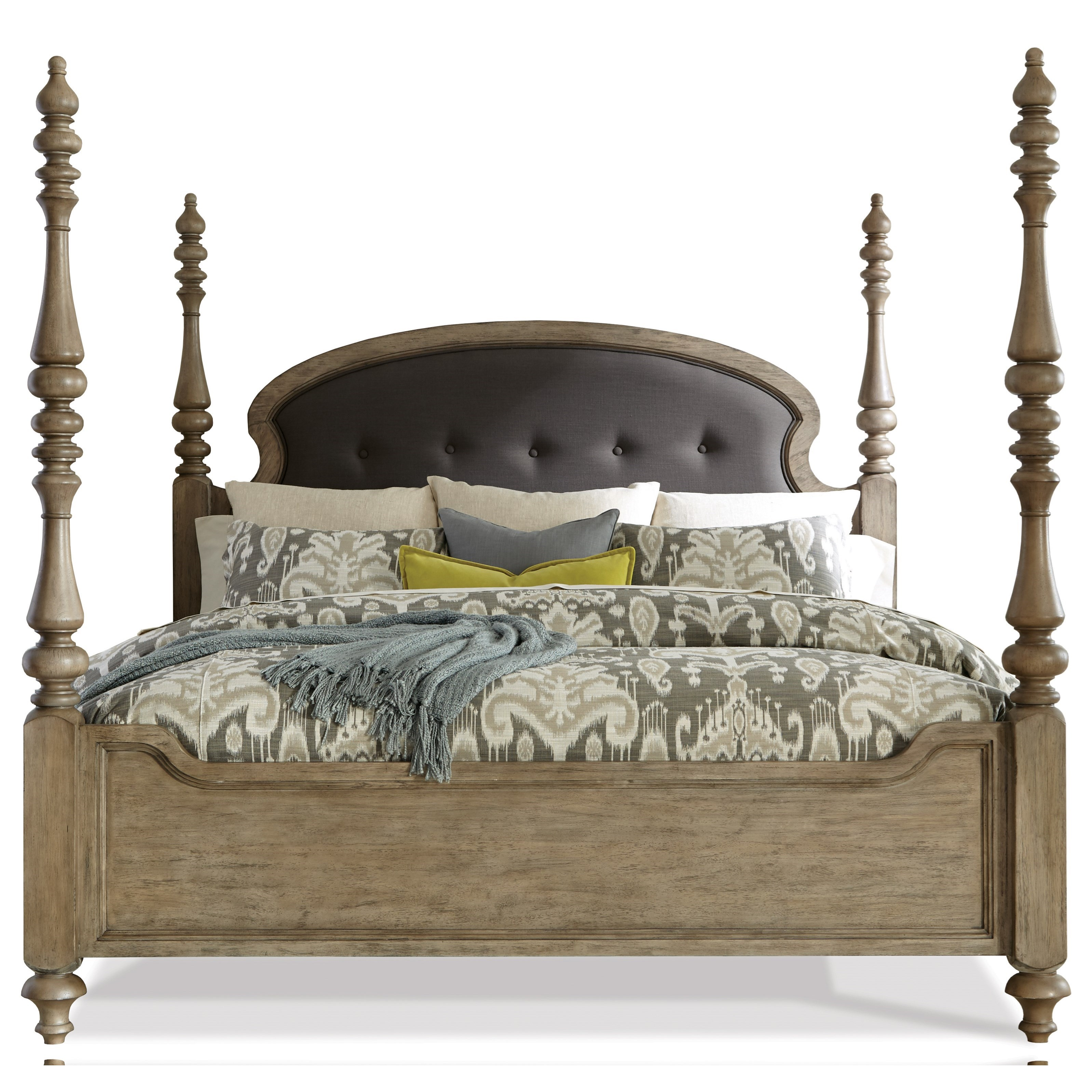 Queen Upholstered Poster Bed In Sun-Drenched Acacia Finish