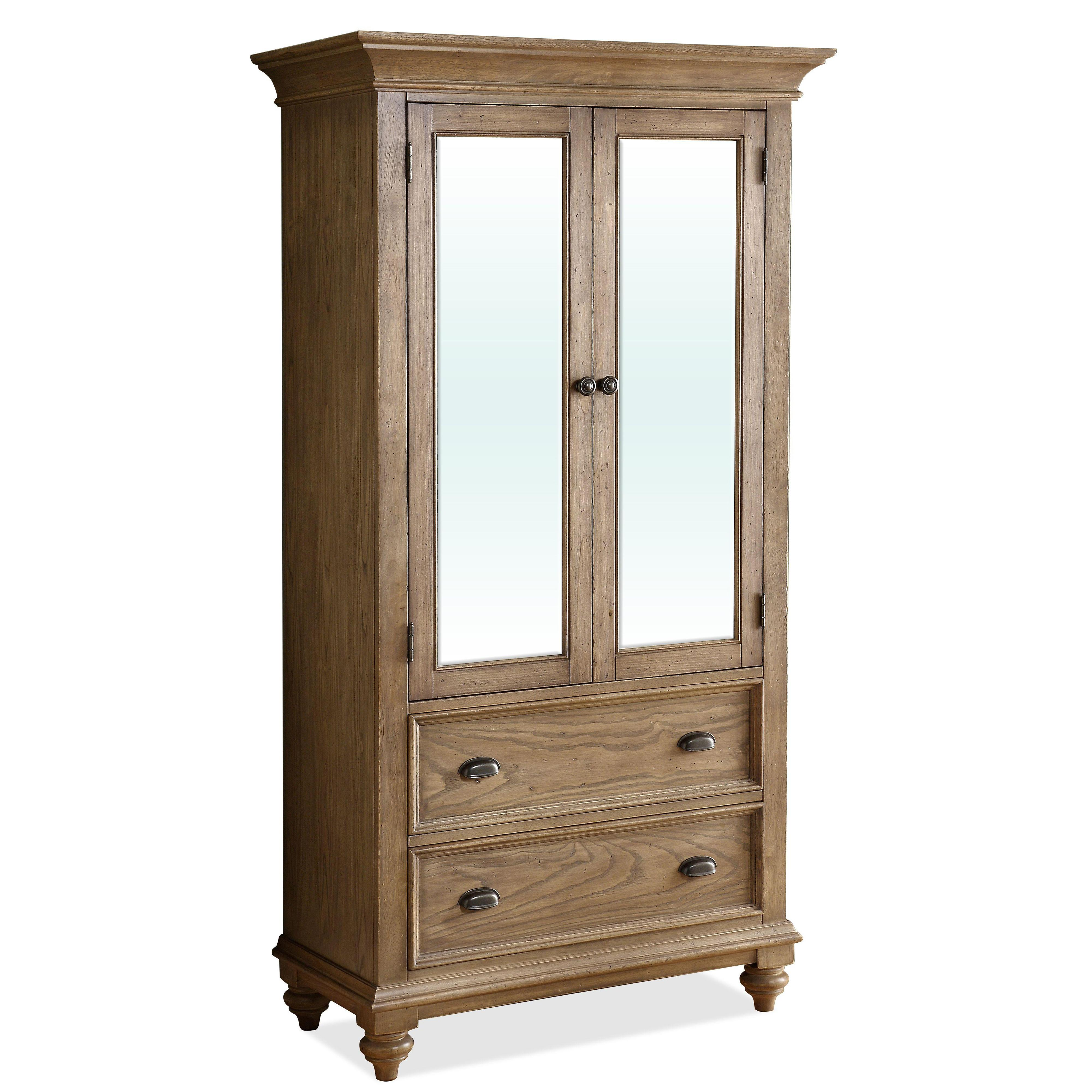 2 Door Mirror Armoire with 5 Drawers