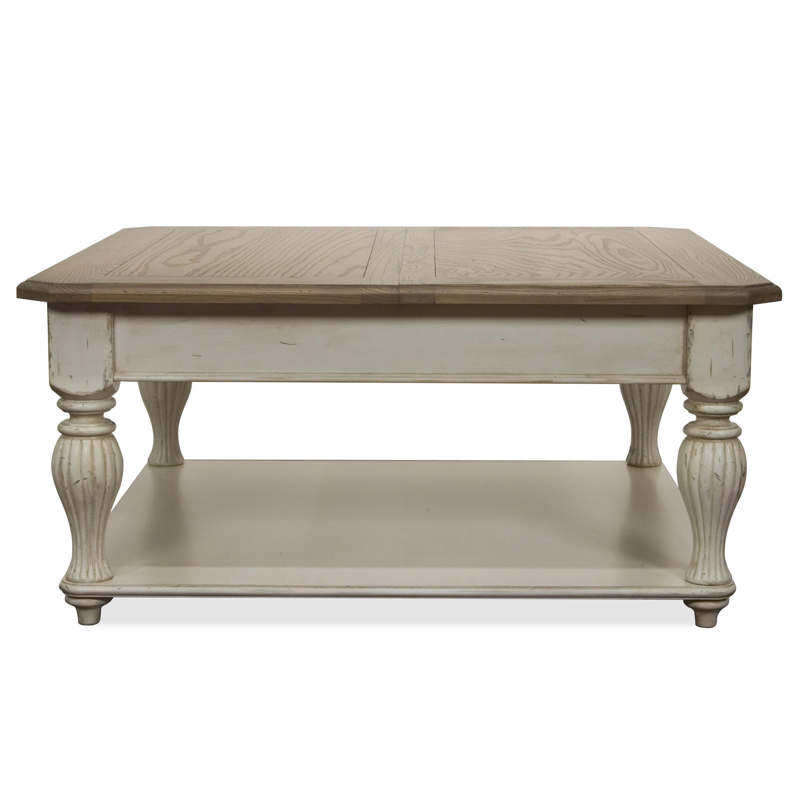 Square lift top coffee table with fixed bottom shelf by for Housse exterieur table
