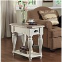 Riverside Furniture Coventry Two Tone Chairside Table with Fixed Bottom Shelf