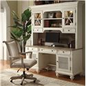 Riverside Furniture Coventry Two Tone Shutter Door Credenza & Glass Door Hutch - Shown with Office Chair