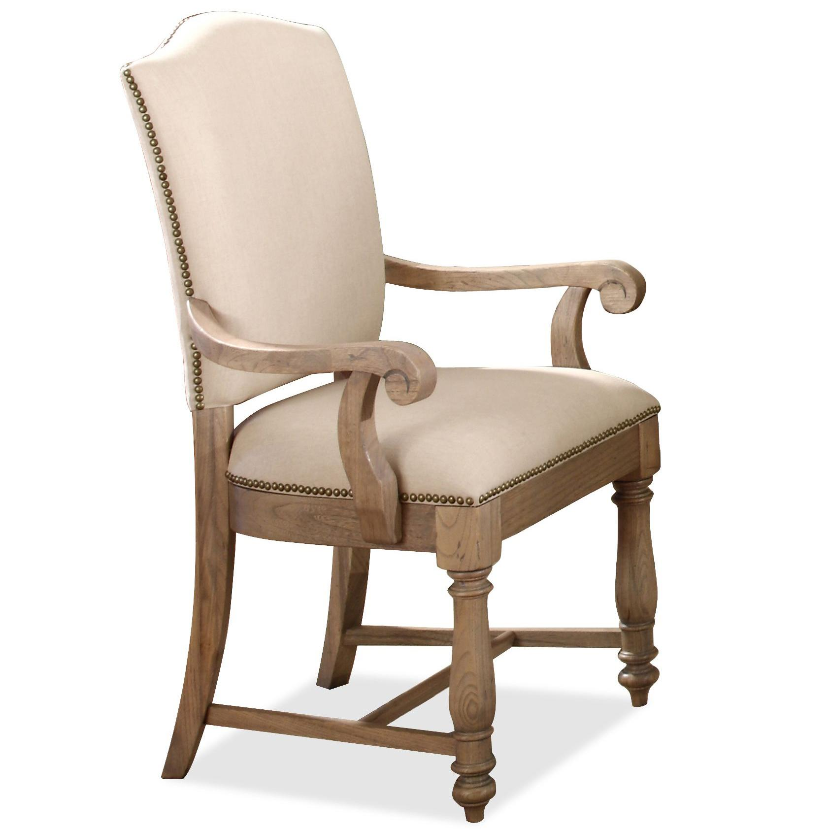 Upholstered Arm Chair with Hammered Nail Head Trim by Riverside