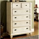 Riverside Furniture Coventry Two Tone Tall 5 Drawer Chest with Bun Feet