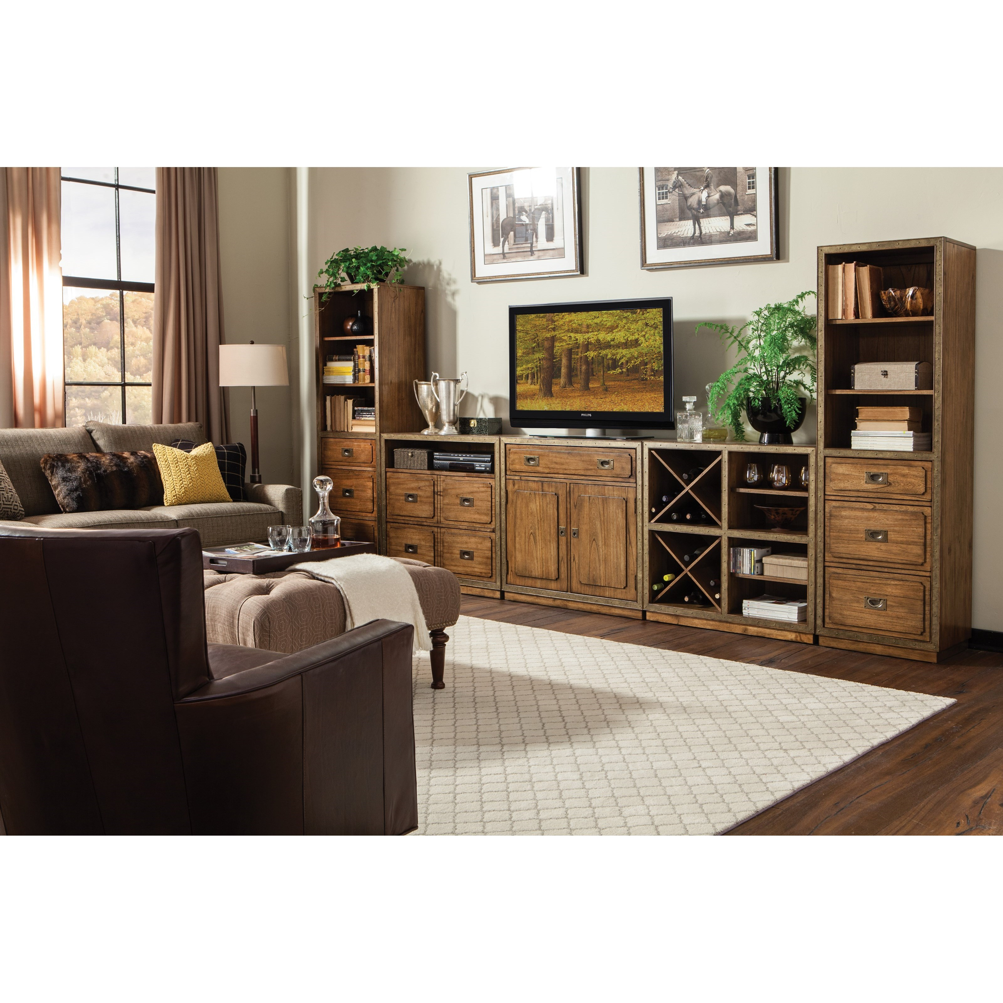 4 Drawer Storage Unit With Open Electronic Storage Area