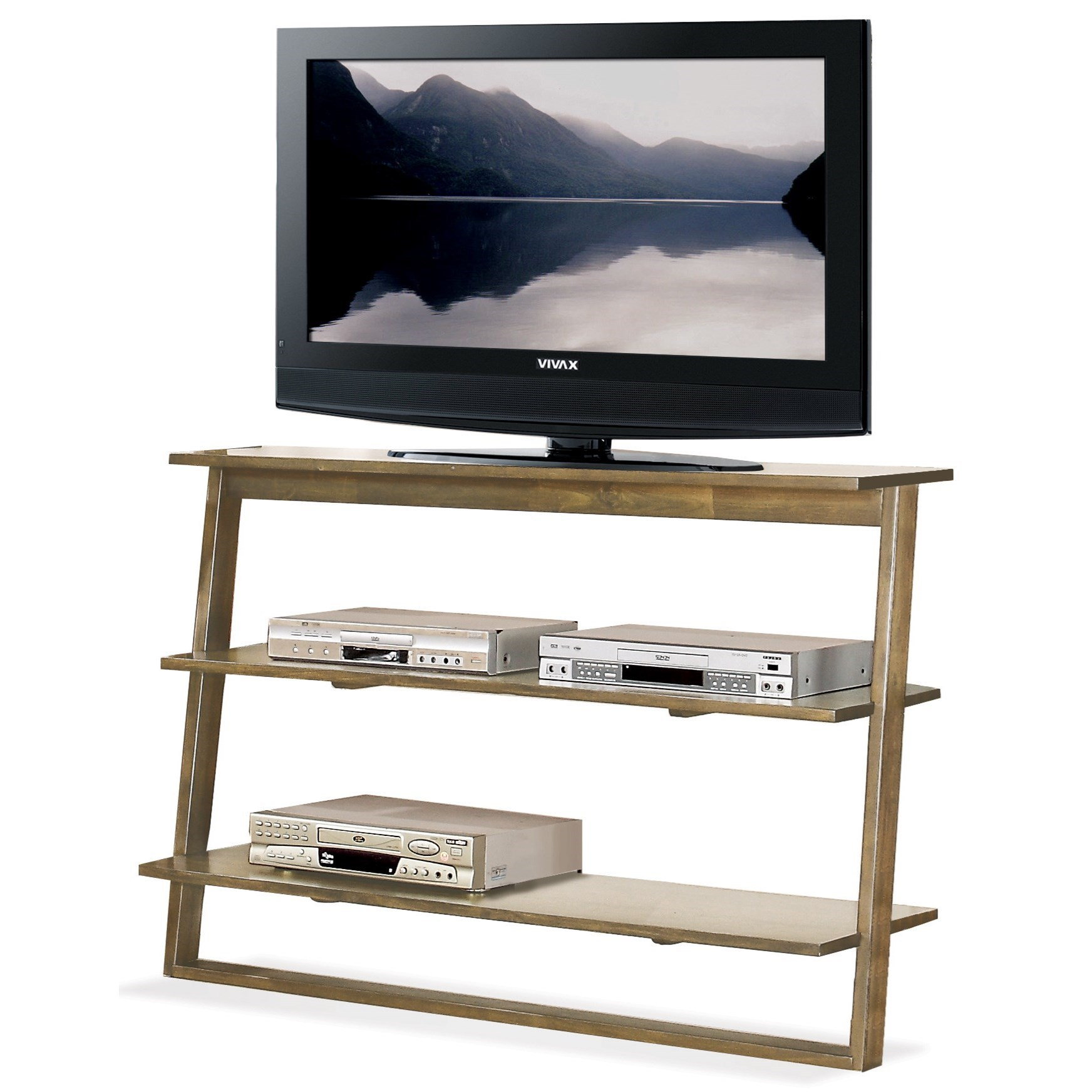 Leaning Tv Stand With 2 Shelves By Riverside Furniture Wolf And Gardiner Wolf Furniture