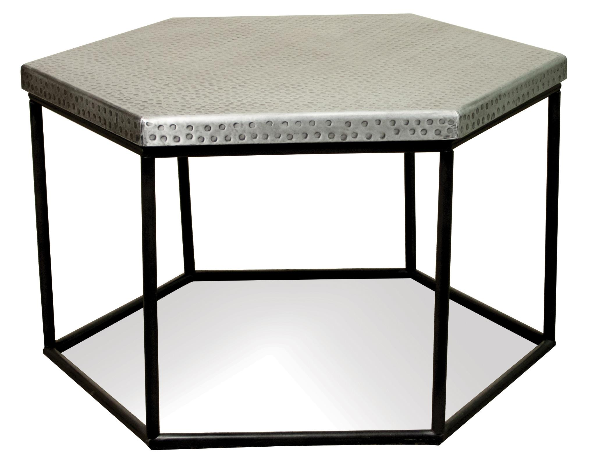 Hammered Metal Hexagon Coffee Table by Riverside Furniture