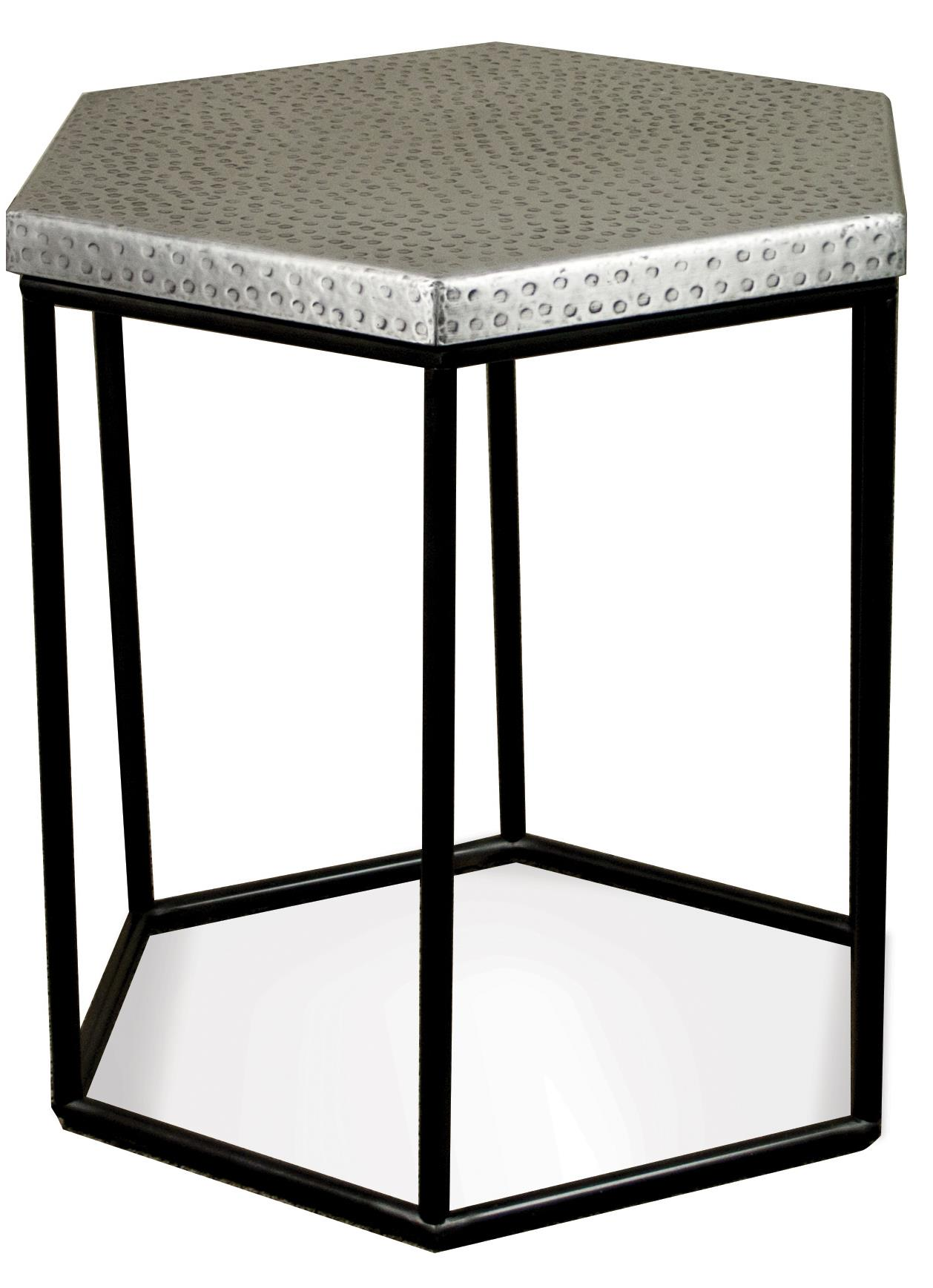 Industrial hexagon side table