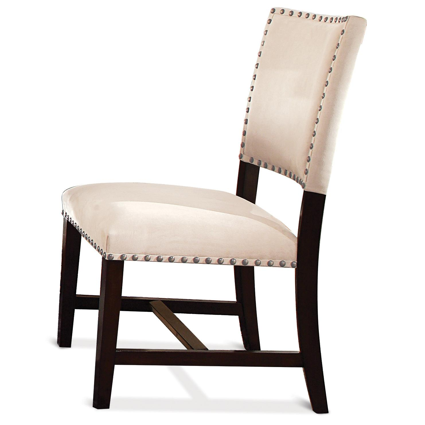 microfiber upholstered parson chair with nailhead trim