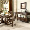Riverside Furniture Newburgh Server with 5 Drawers - Shown with Round Dining Table and Side Chairs