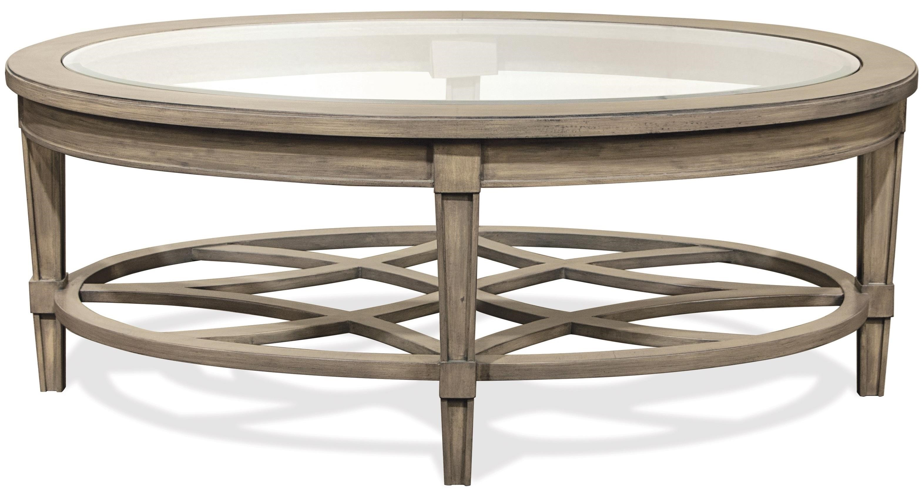 Oval Cocktail Table with Decorative Open Slat Bottom Shelf by