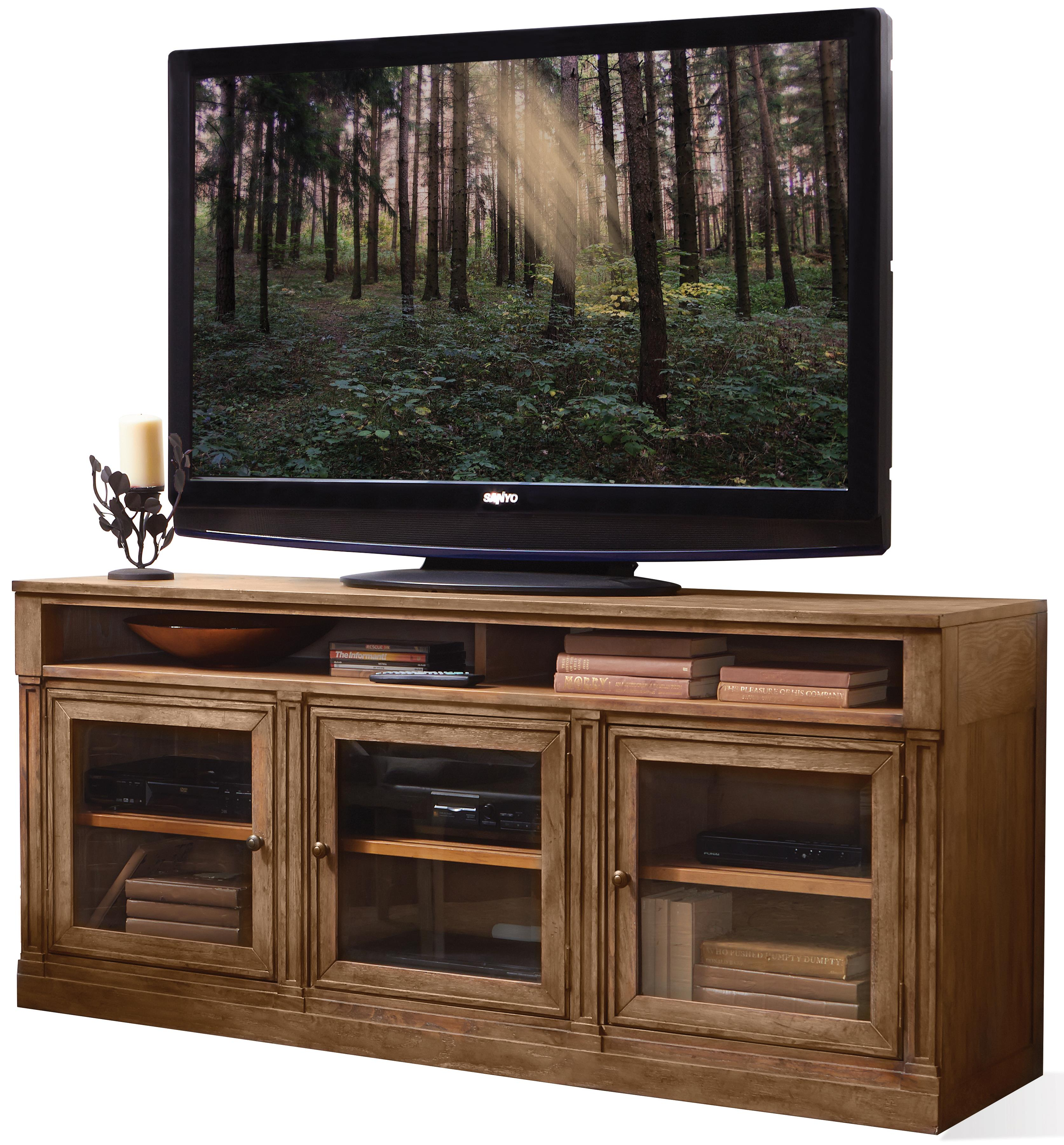 3 Door Tv Console With Beveled Glass Doors By Riverside Furniture