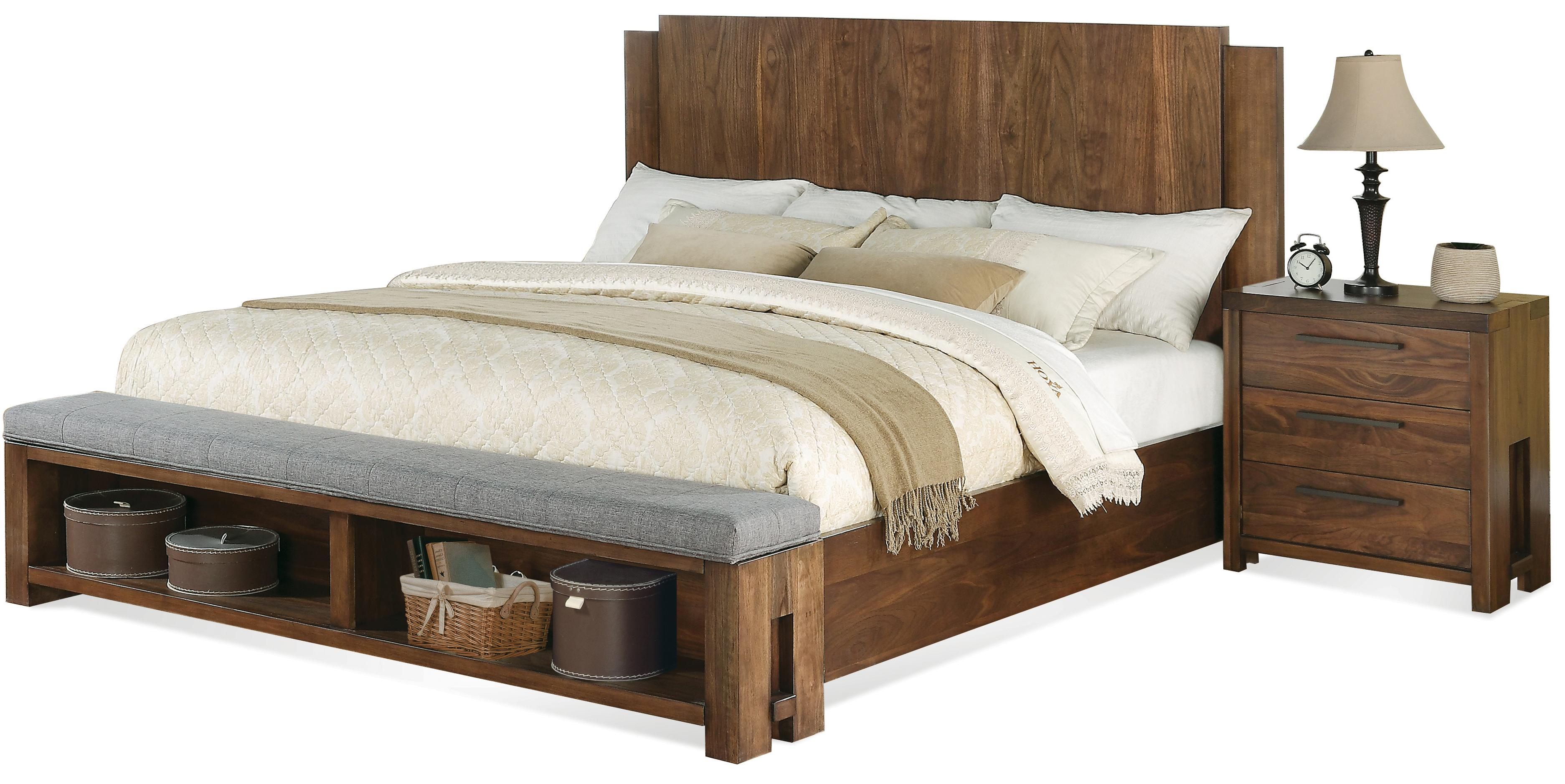 low platform bed low profile panel bed w bench by riverside 11364