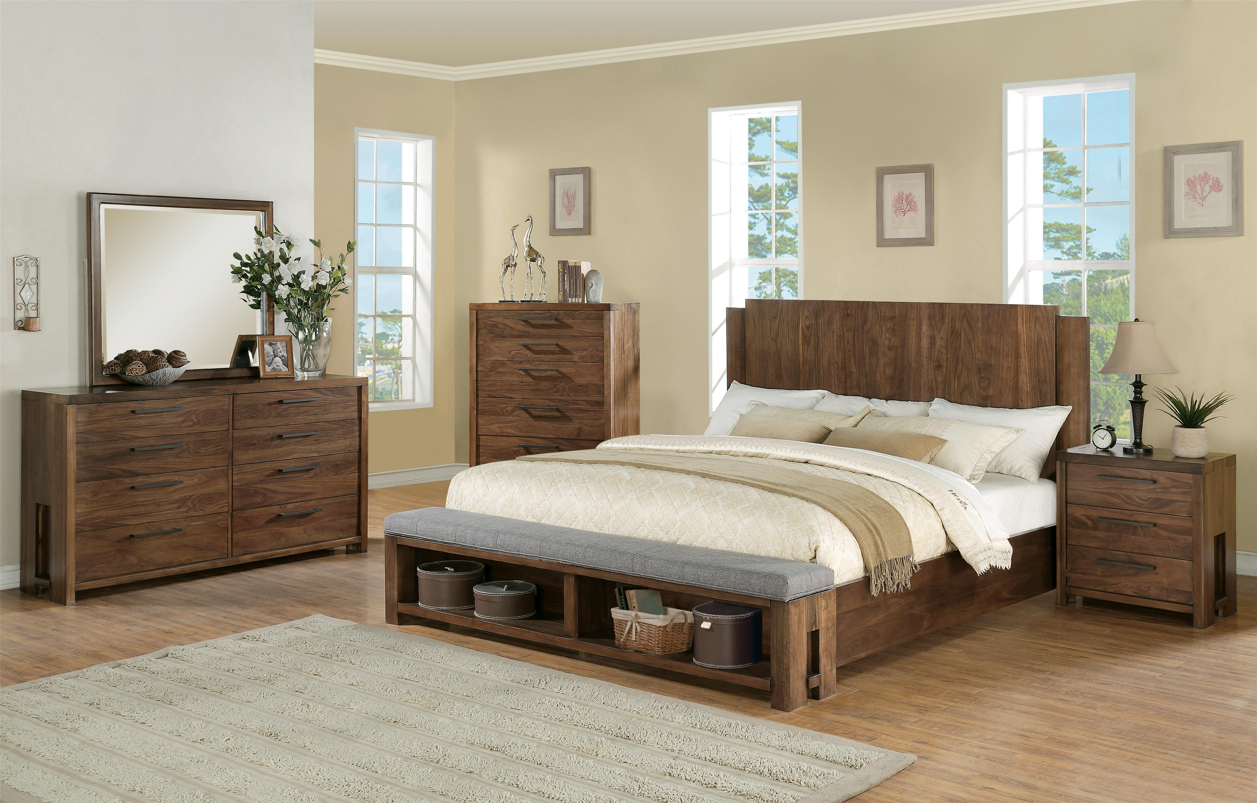 queen low profile panel bed w bench by riverside furniture  wolf  - queen panel bed