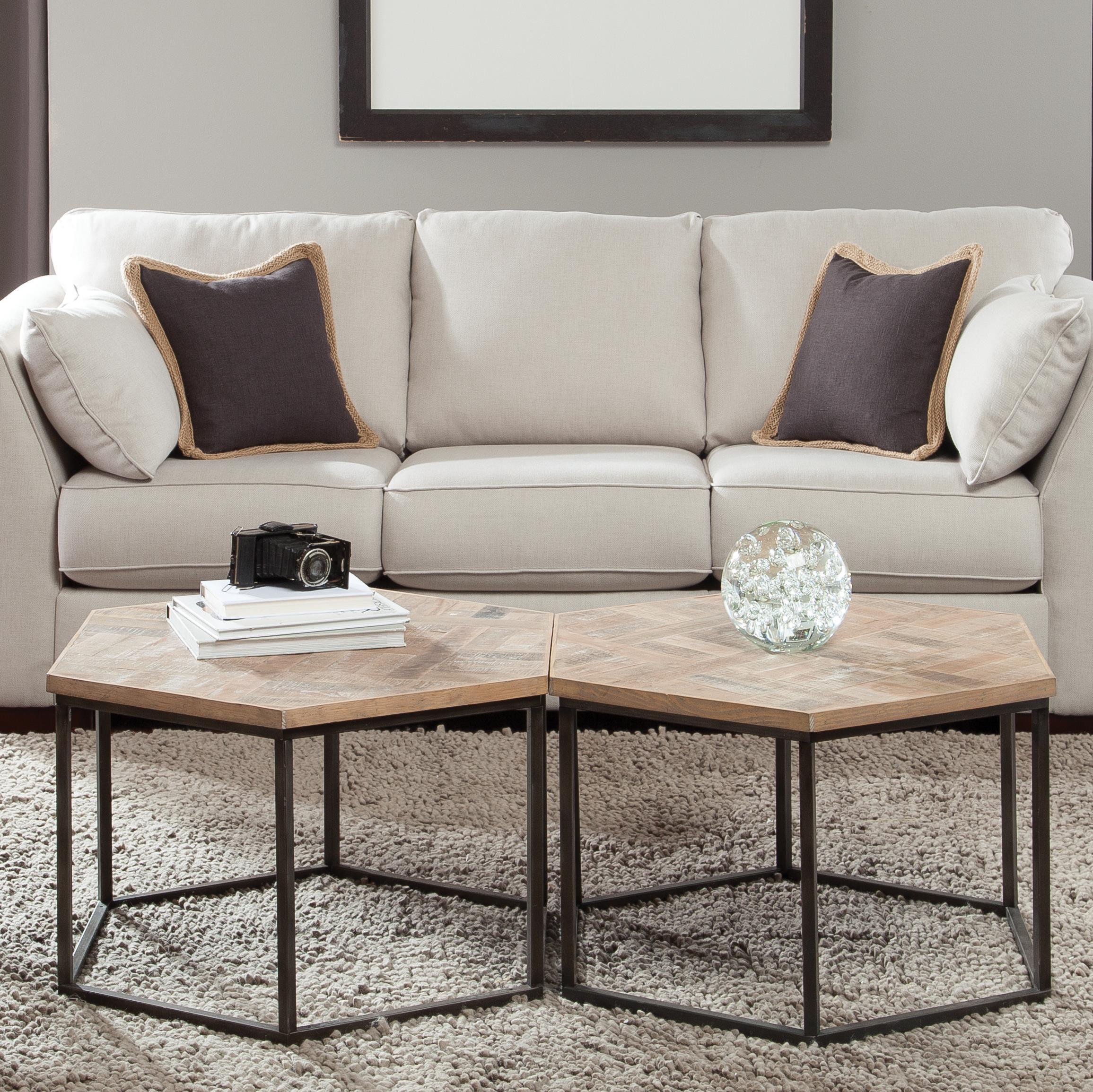 Hexagon Coffee Table W Metal Base By Riverside Furniture