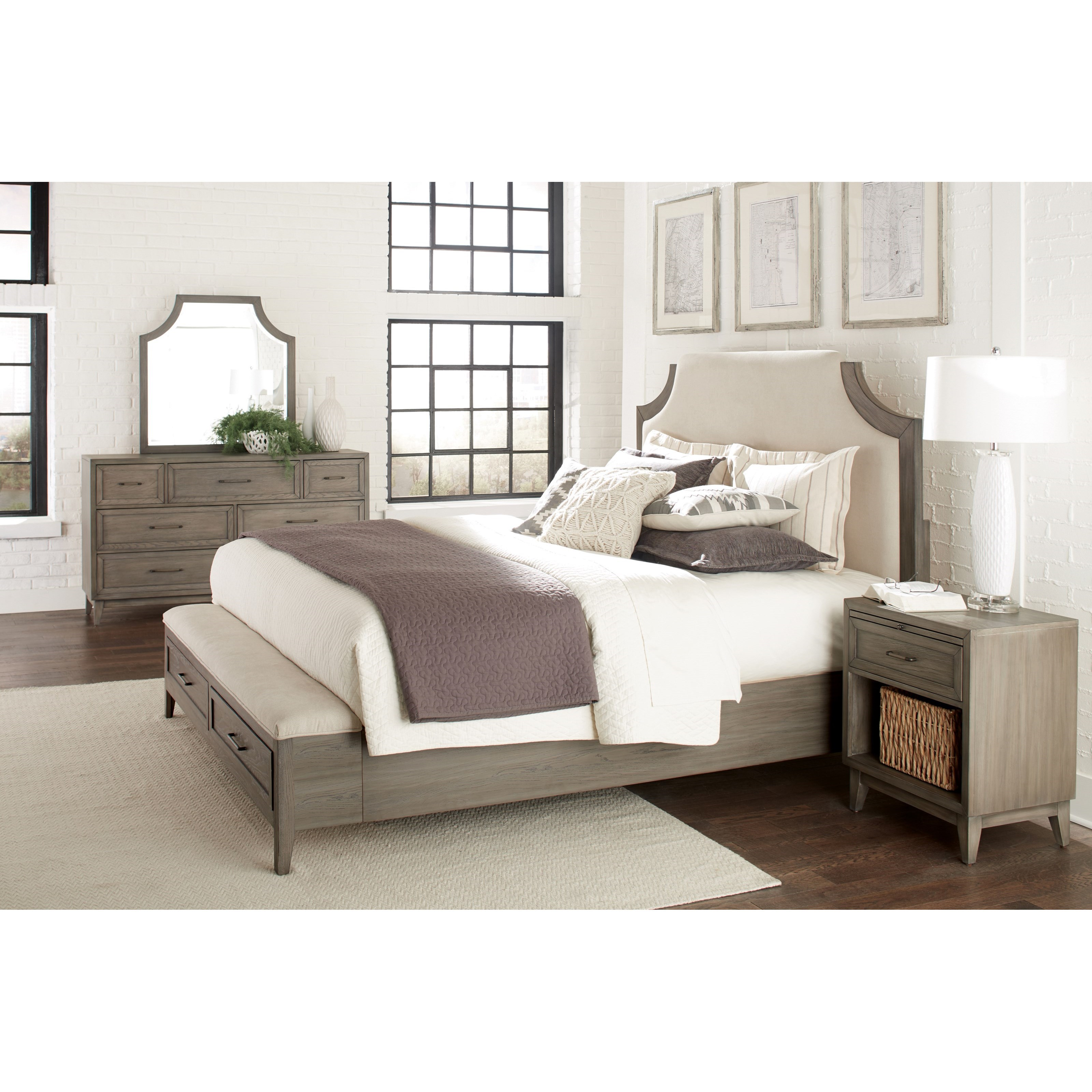 Queen Upholstered Bed With Storage Bench Footboard By