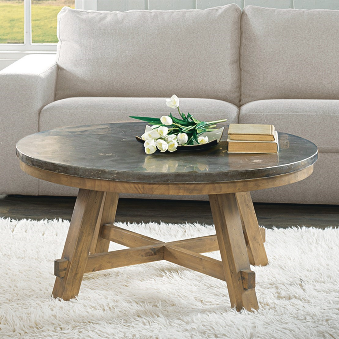 Coffee Table With Bluestone Top: Round Cocktail Table With Authentic Bluestone Top By