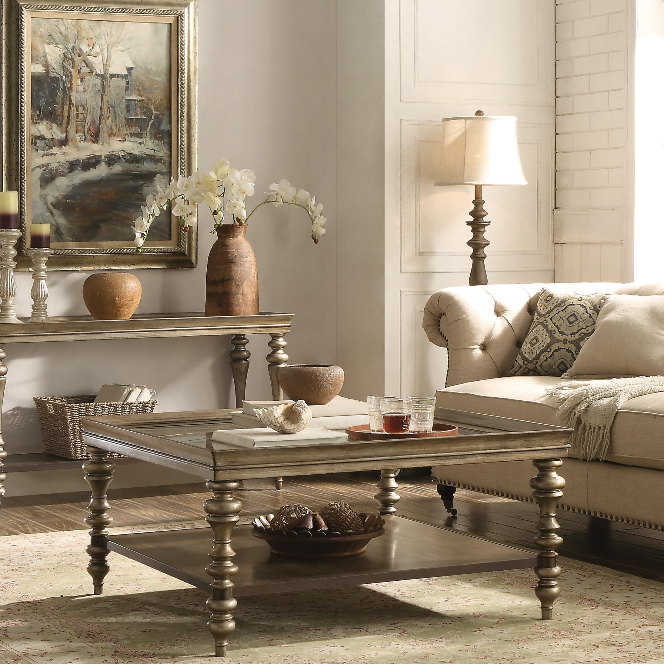 square coffee table w self by riverside furniture - Riverside Furniture