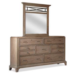 Riverside Furniture Windhaven Dresser & Vertical Mirror