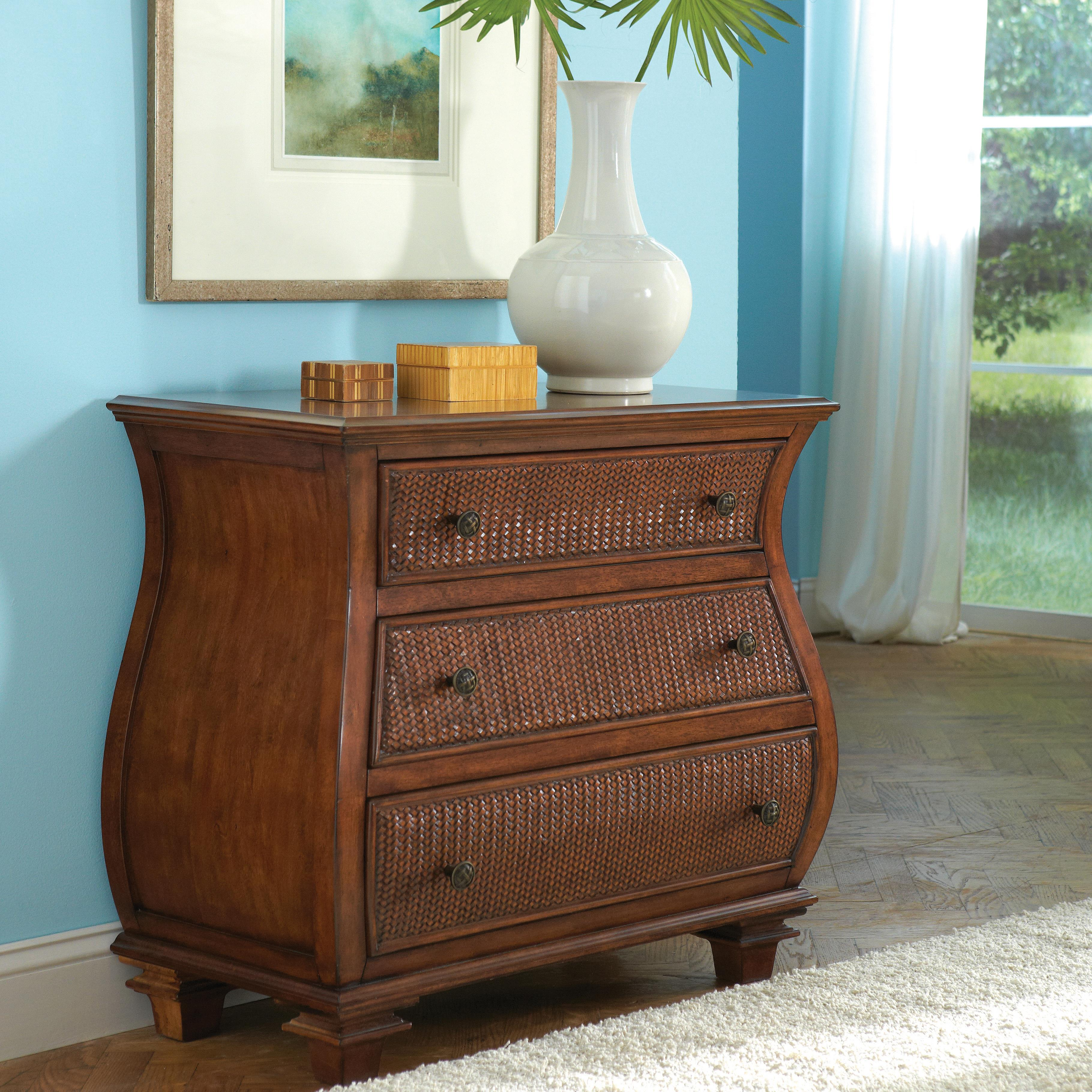 Bombe Chest W Rattan Drawer Fronts By Riverside Furniture