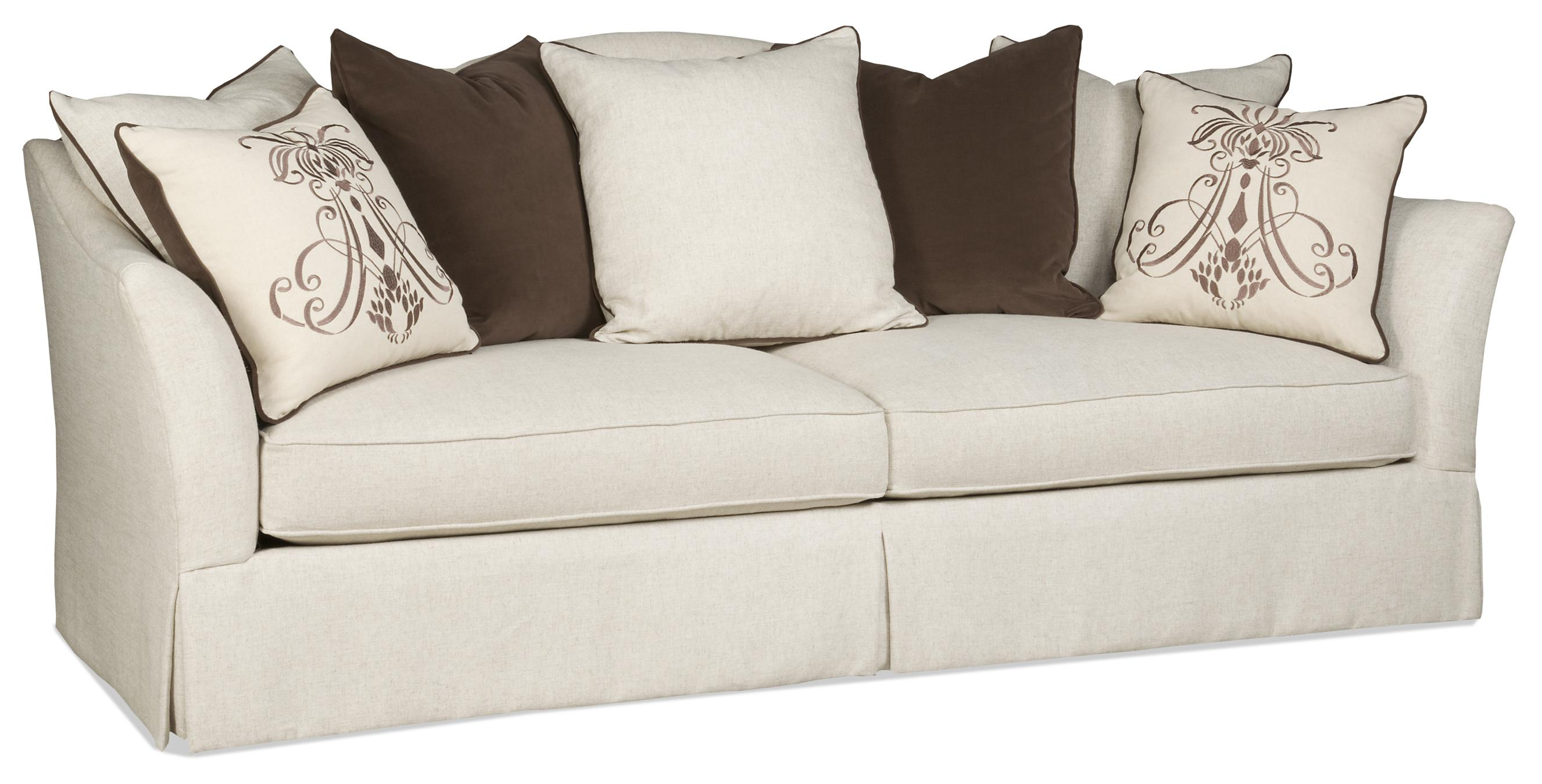 Transitional Scatterback Sofa With Flair Tapered Arms And Skirt