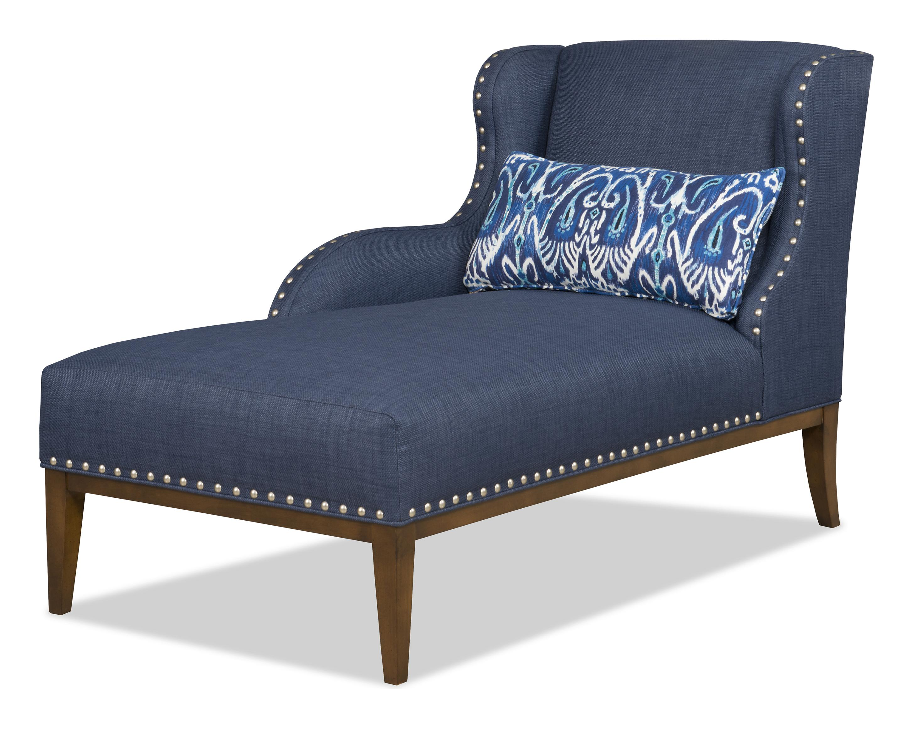 Transitional LAF One Arm Chaise With Nailhead Trim