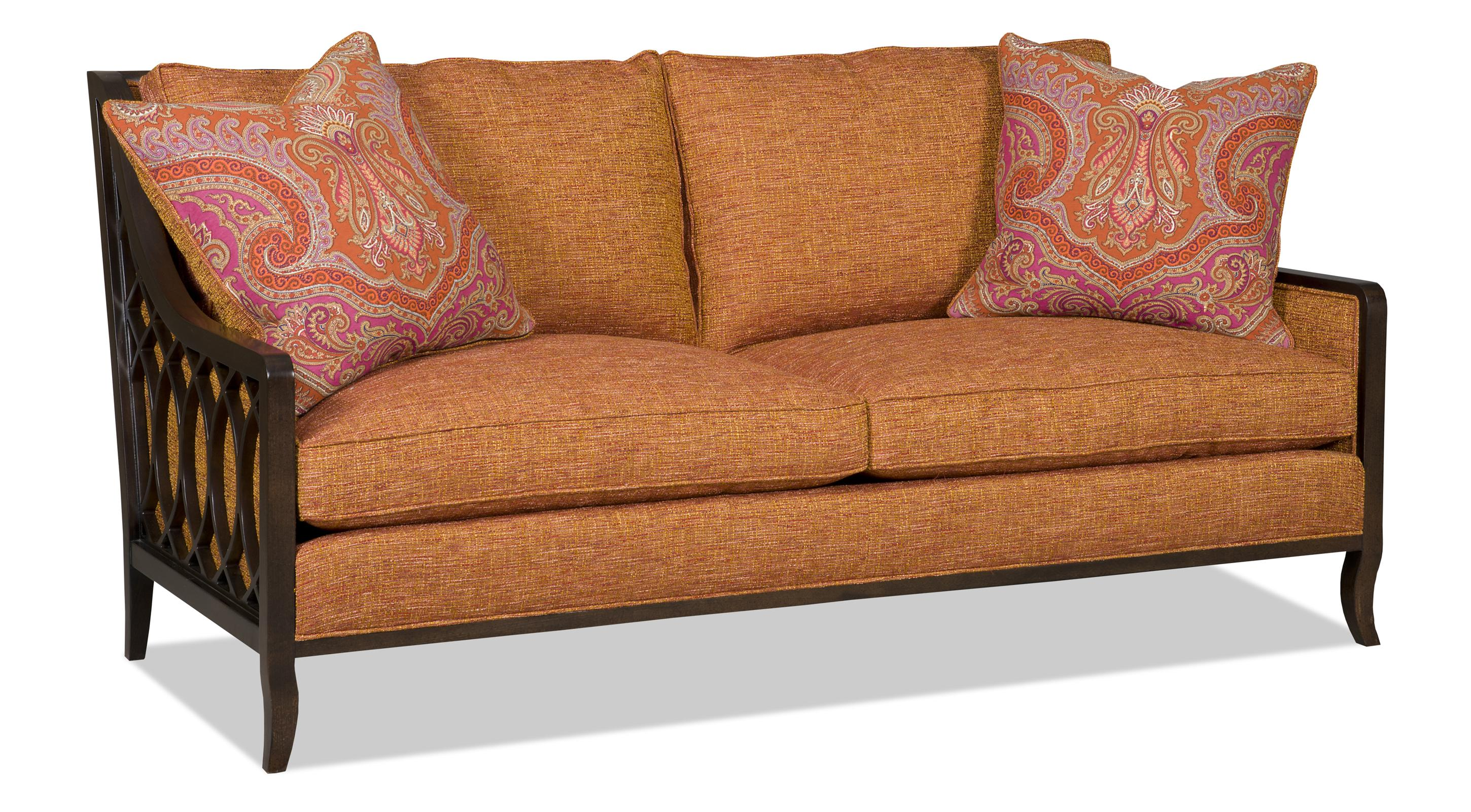 Two over sofa with exposed wood lattice arms by sam