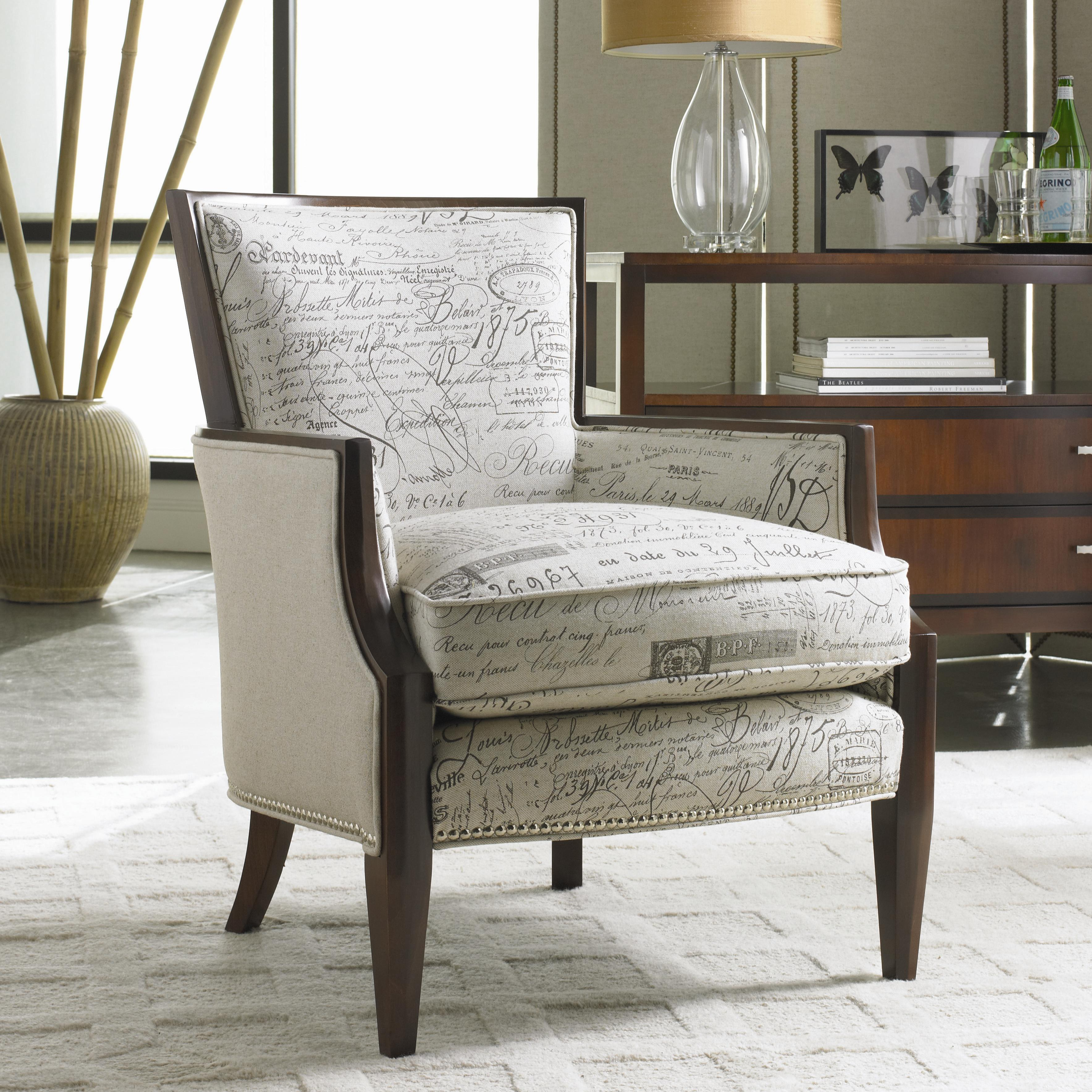 upholstered exposed wood accent chair by sam moore wolf and