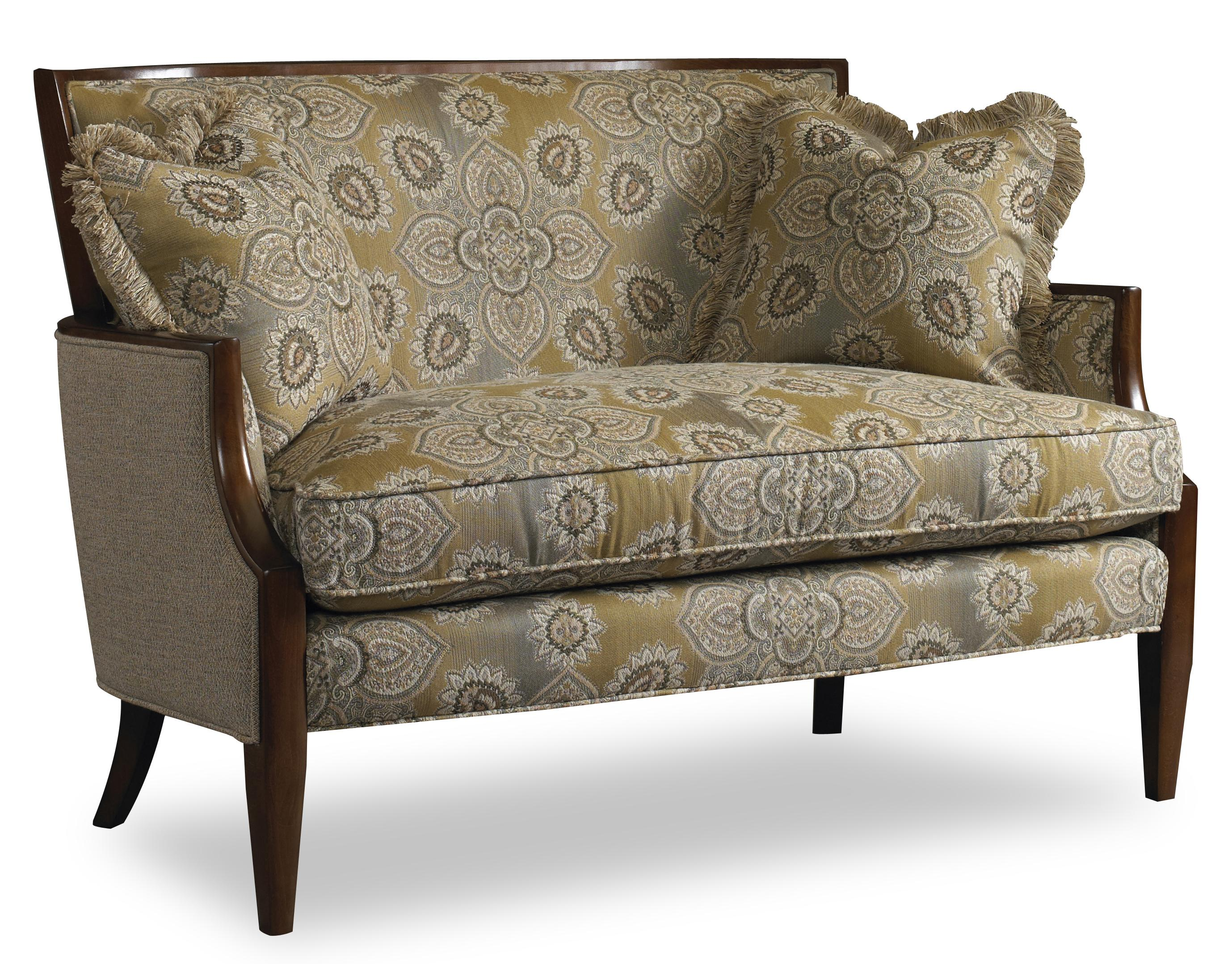 Contemporary Settee with Sloped Arms and Exposed Wood Trim by Sam ...