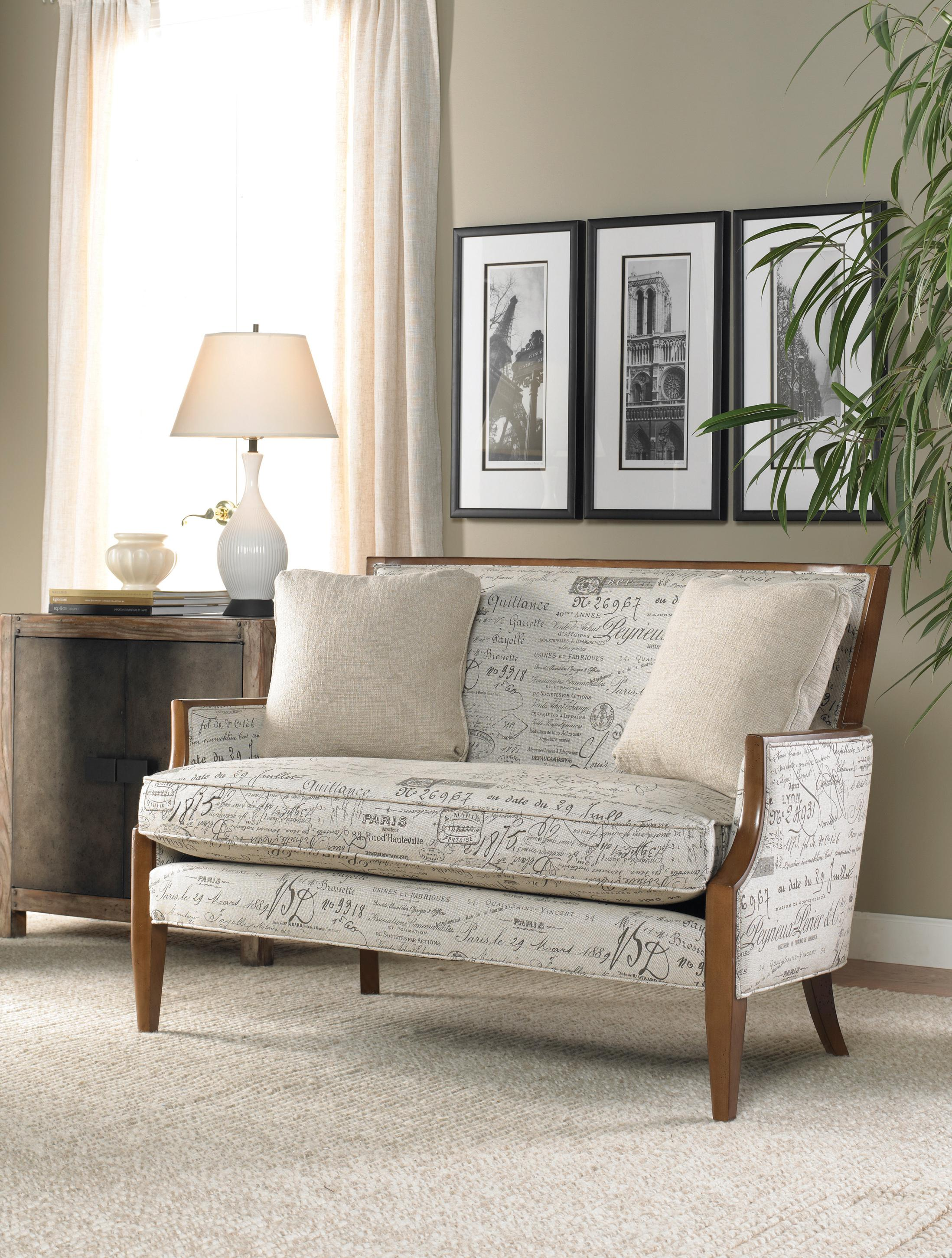 Contemporary Settee with Sloped Arms and Exposed Wood Trim by Sam