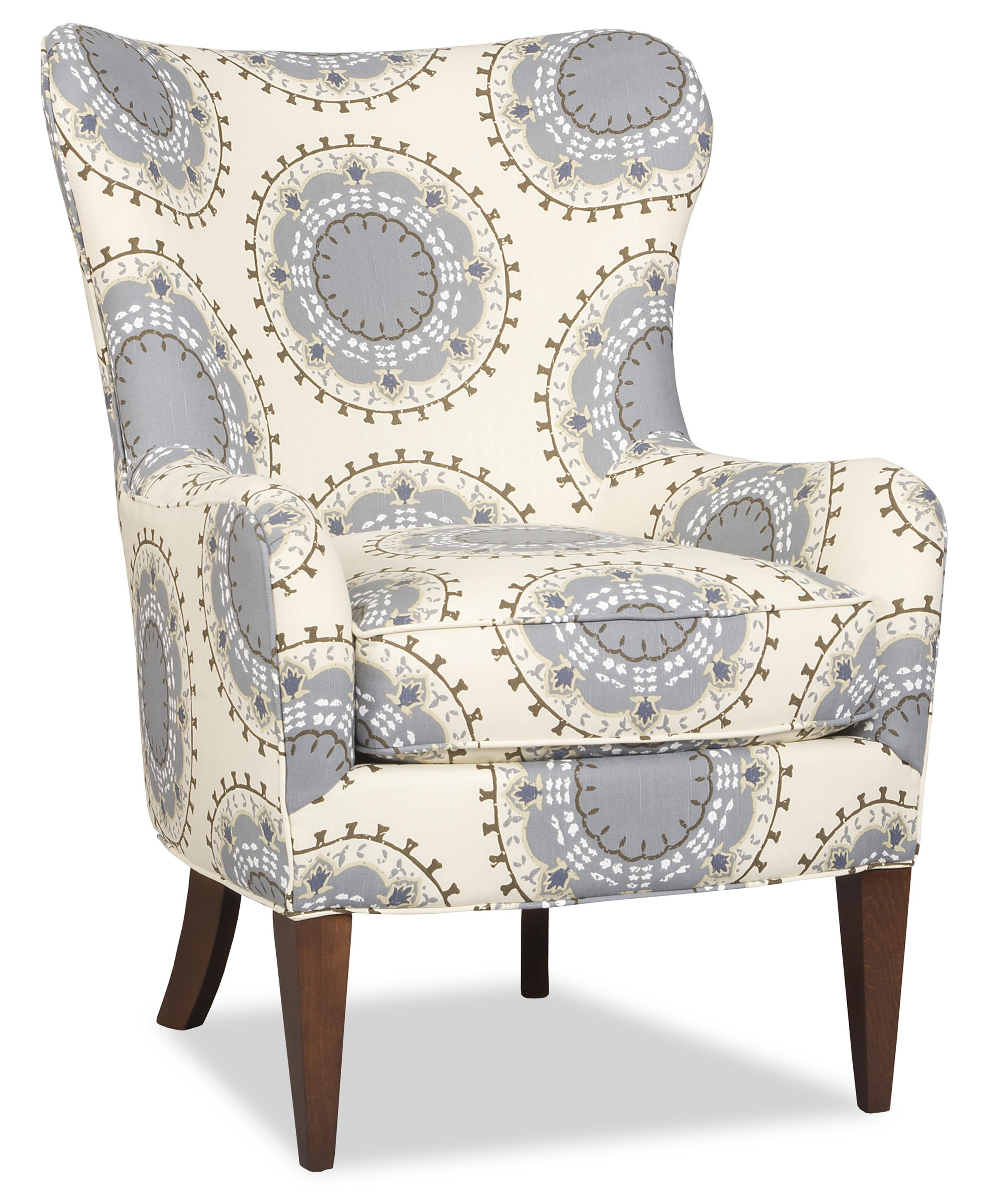 Merveilleux Contemporary Wing Chair With Tapered Wood Legs