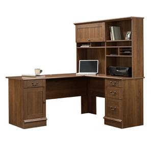 Sauder Home Office Shaker Cherry L-Shaped Desk with Hutch