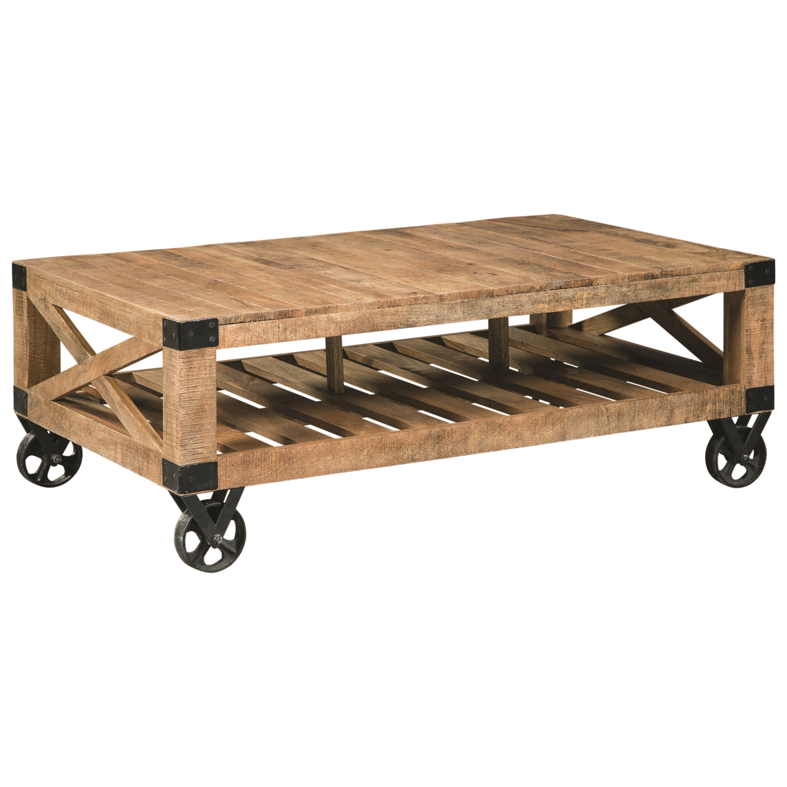 Industrial Coffee Table with Casters by Scott Living