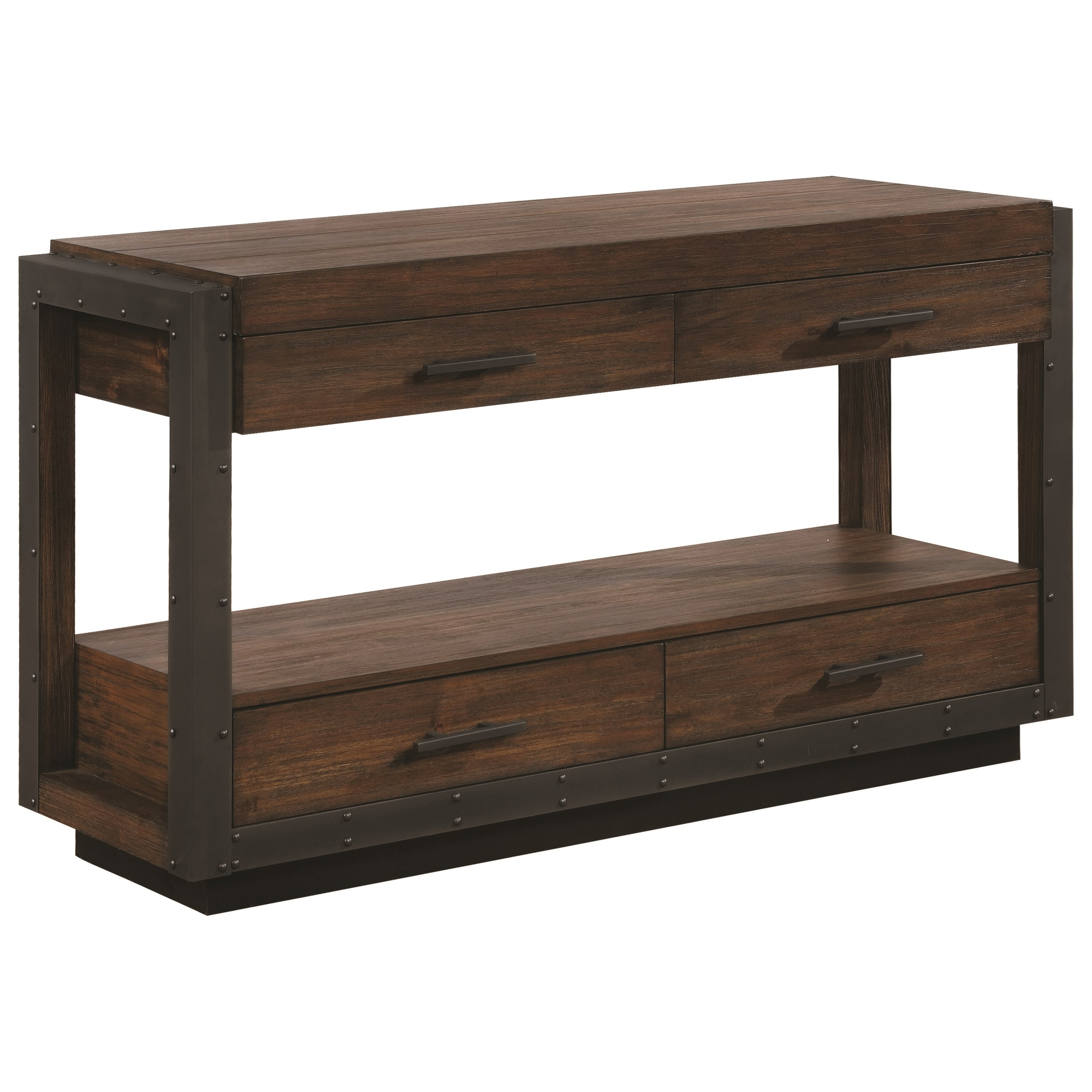 Industrial Sofa Table With Four Drawers