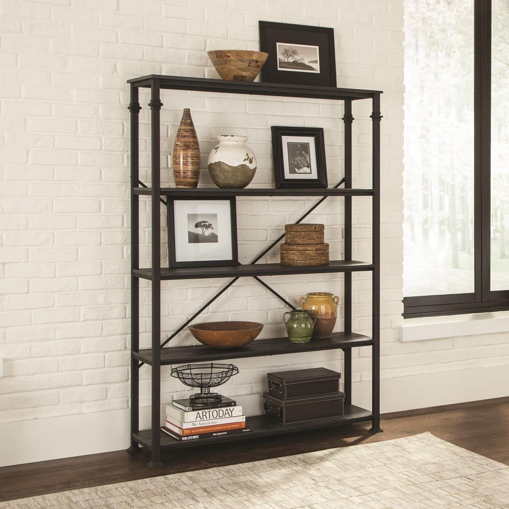 chestnut four a shelf bookcase finished pin with wood bookcases shelves pairs metal black frame book our