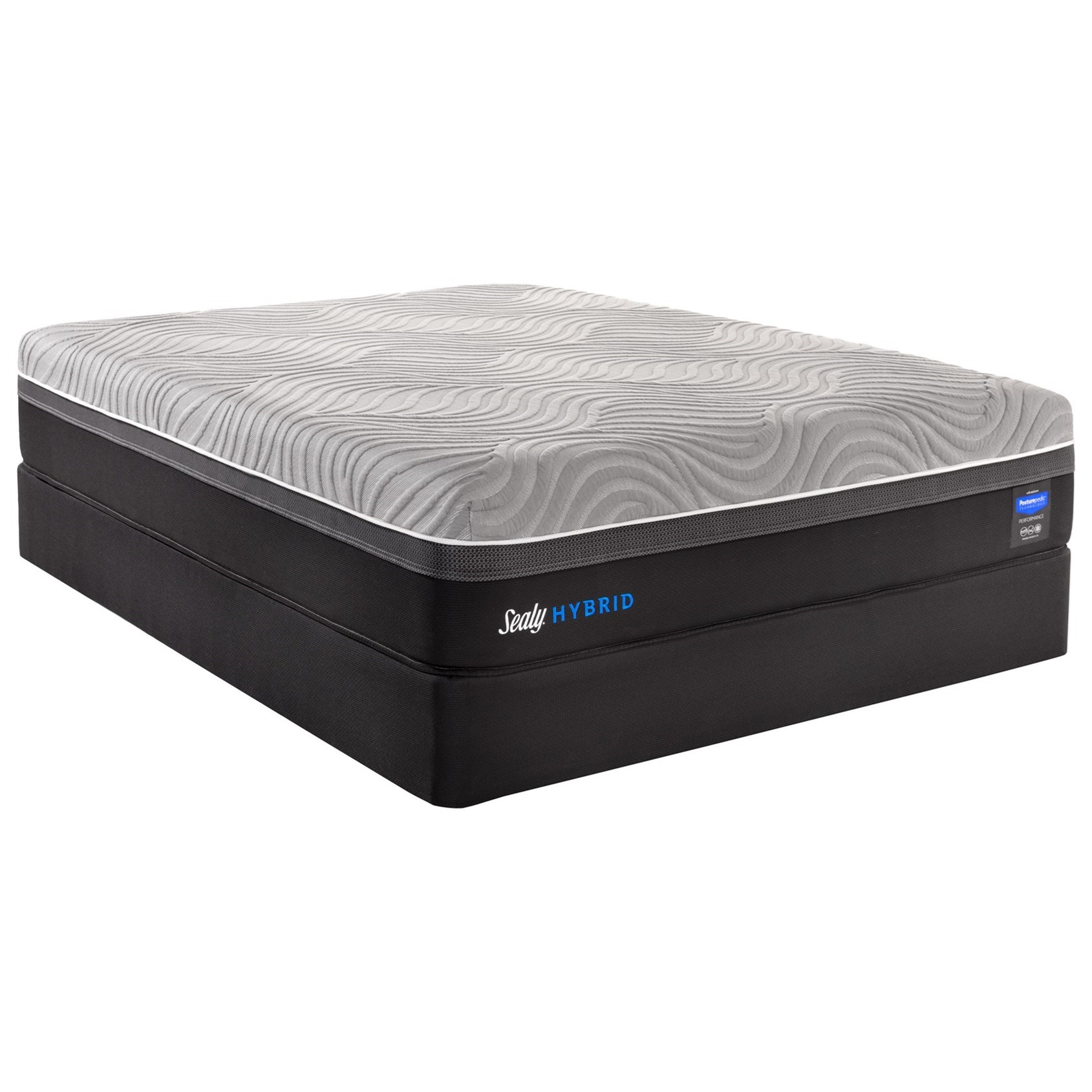 "Queen Plush Performance Hybrid Mattress and 5"" Low Profile StableSupport Foundation"
